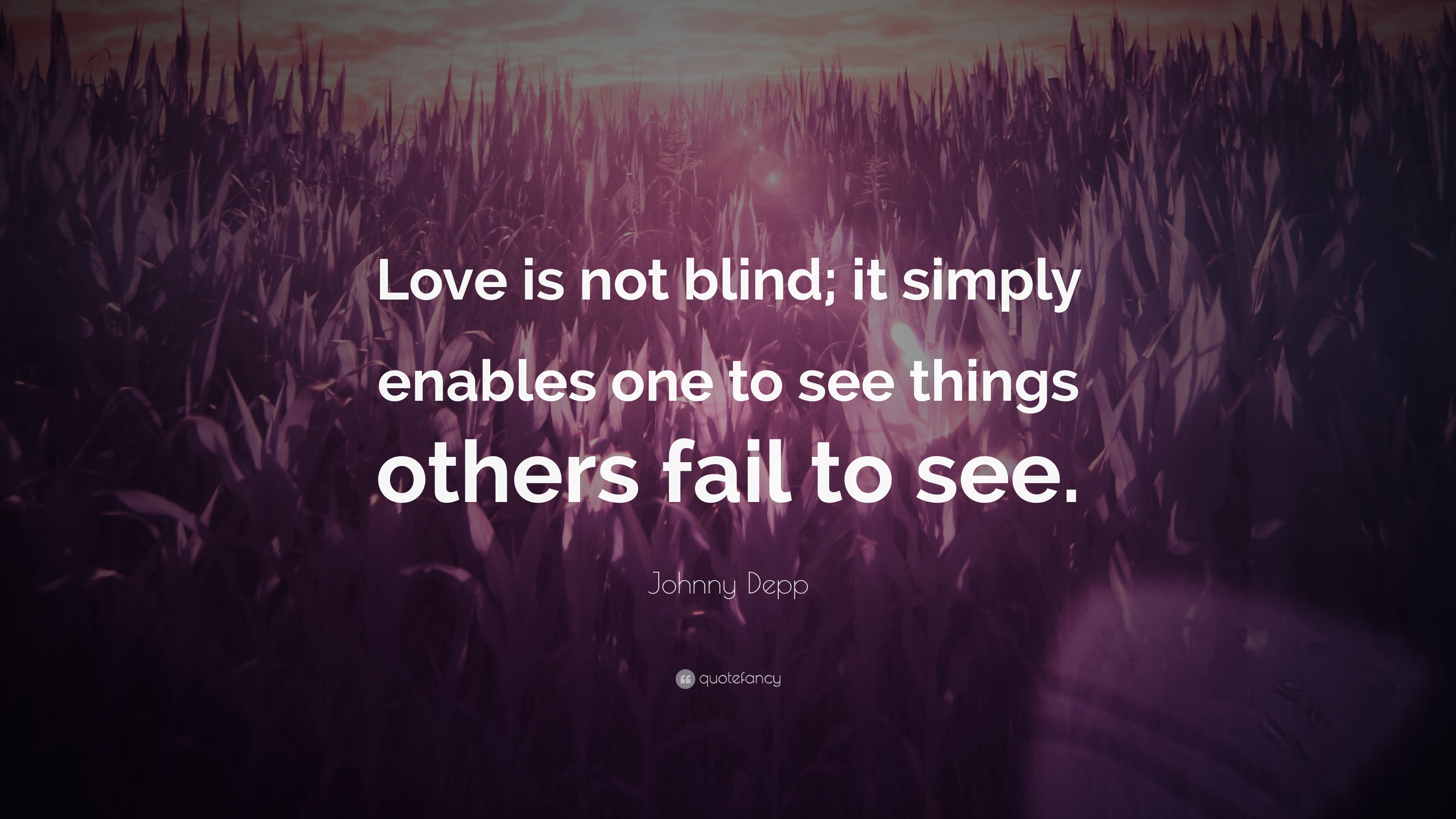 "Johnny Depp Quote: ""Love Is Not Blind; It Simply Enables"