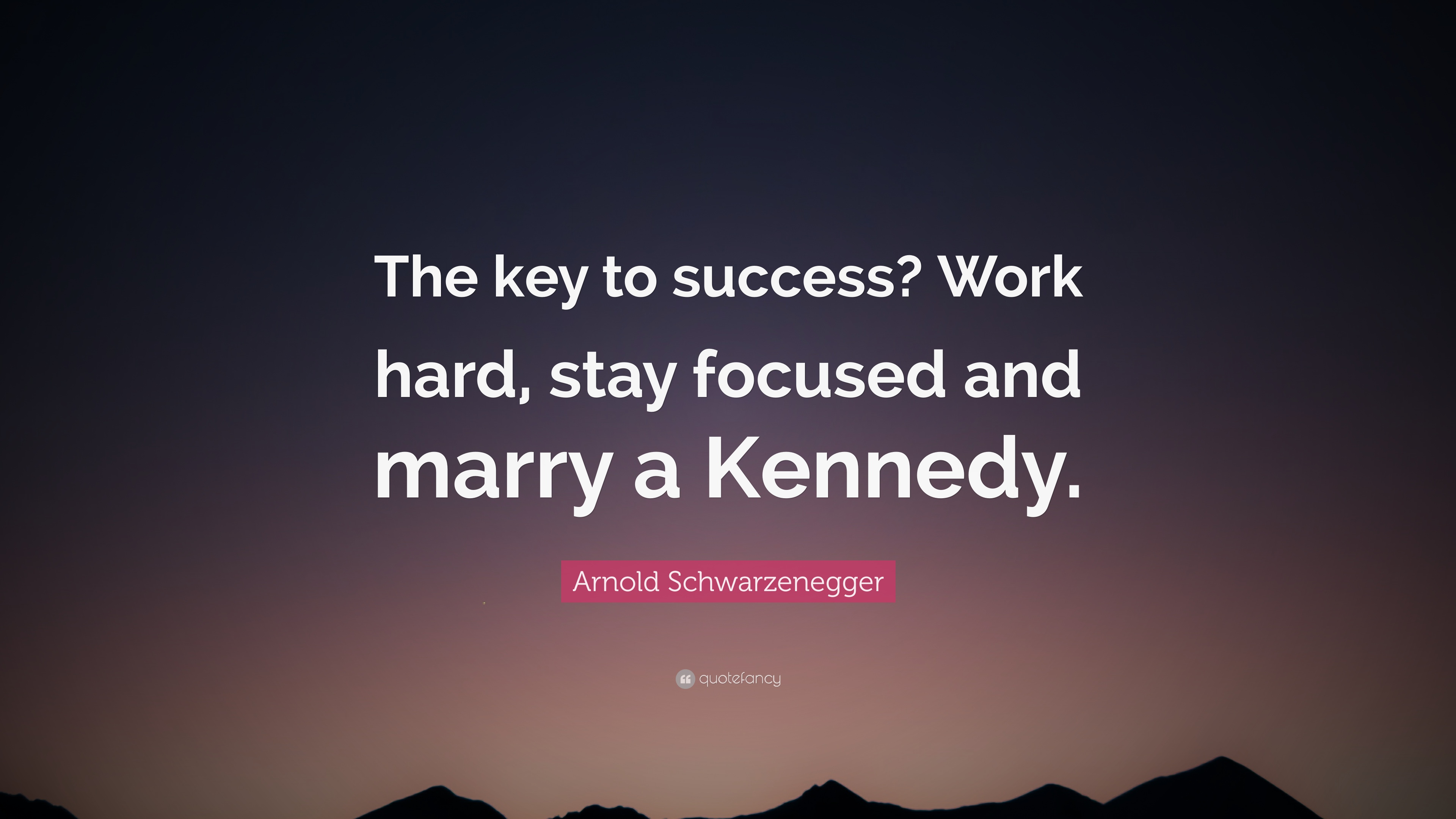 Arnold Schwarzenegger Quote The Key To Success Work Hard Stay Focused And