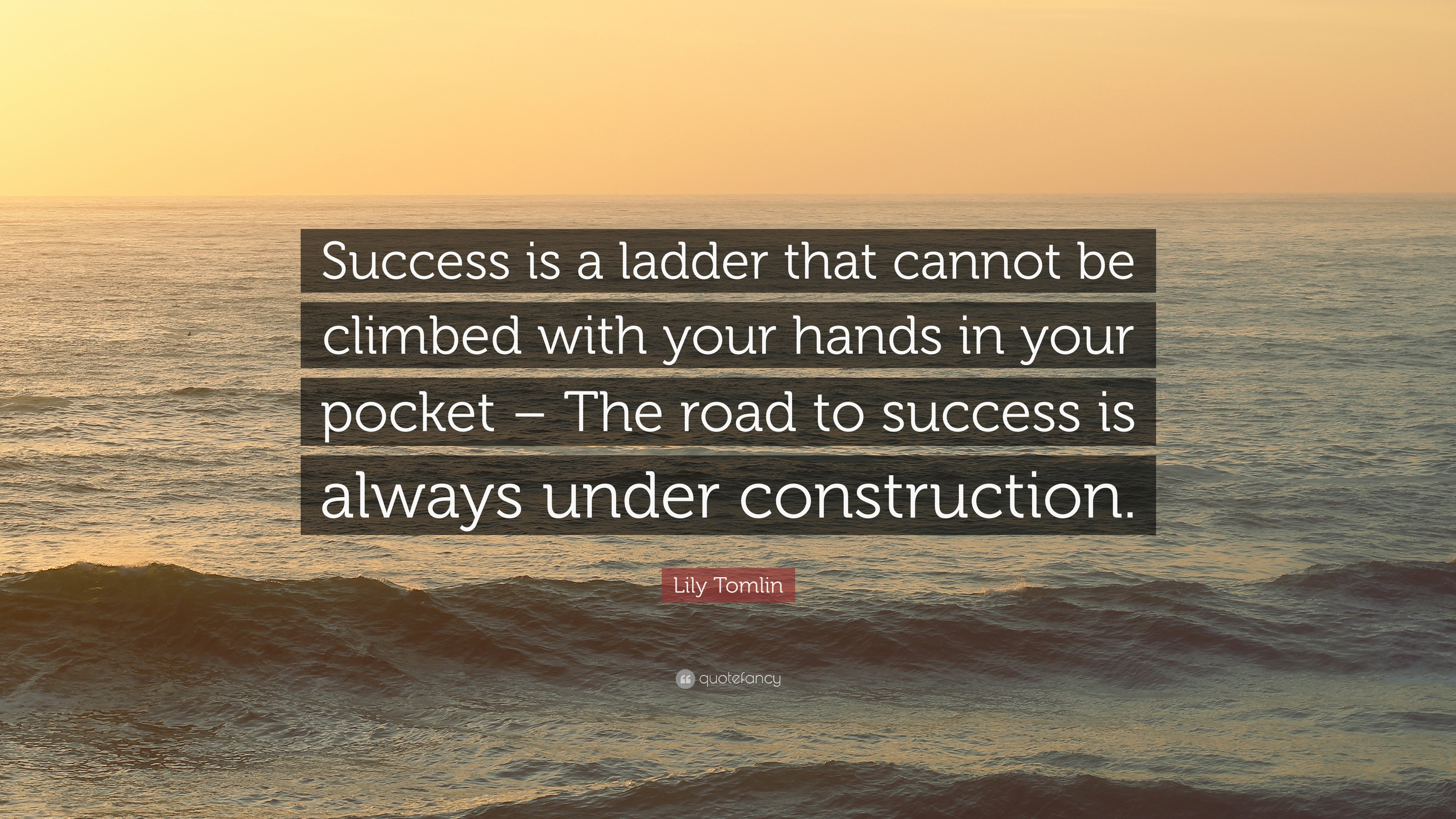 Success is a ladder that cannot be climbed with your hands in your pocket
