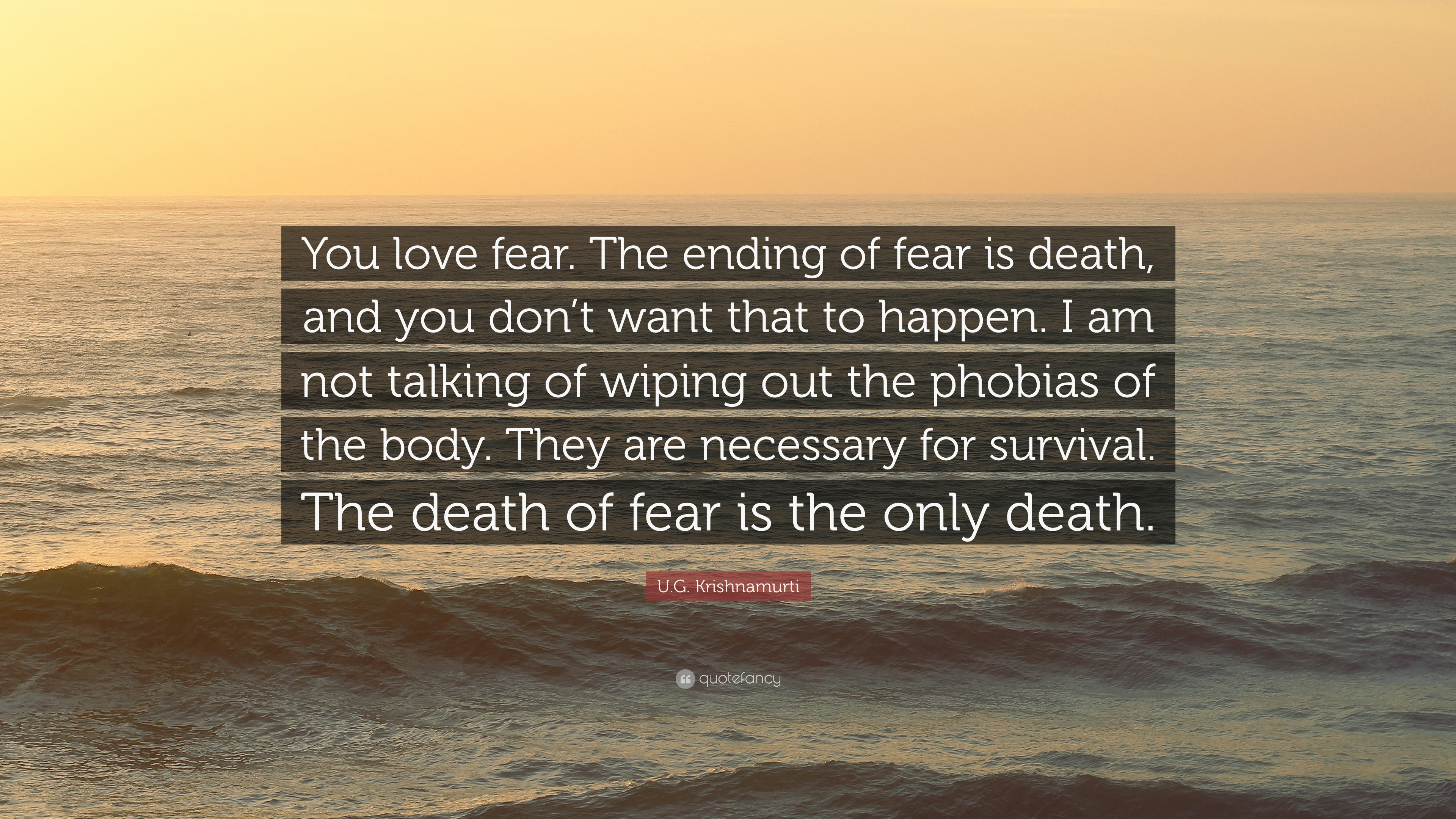 """Do Not Complain If The Person You Love Don T Love You Back: U.G. Krishnamurti Quote: """"You Love Fear. The Ending Of"""