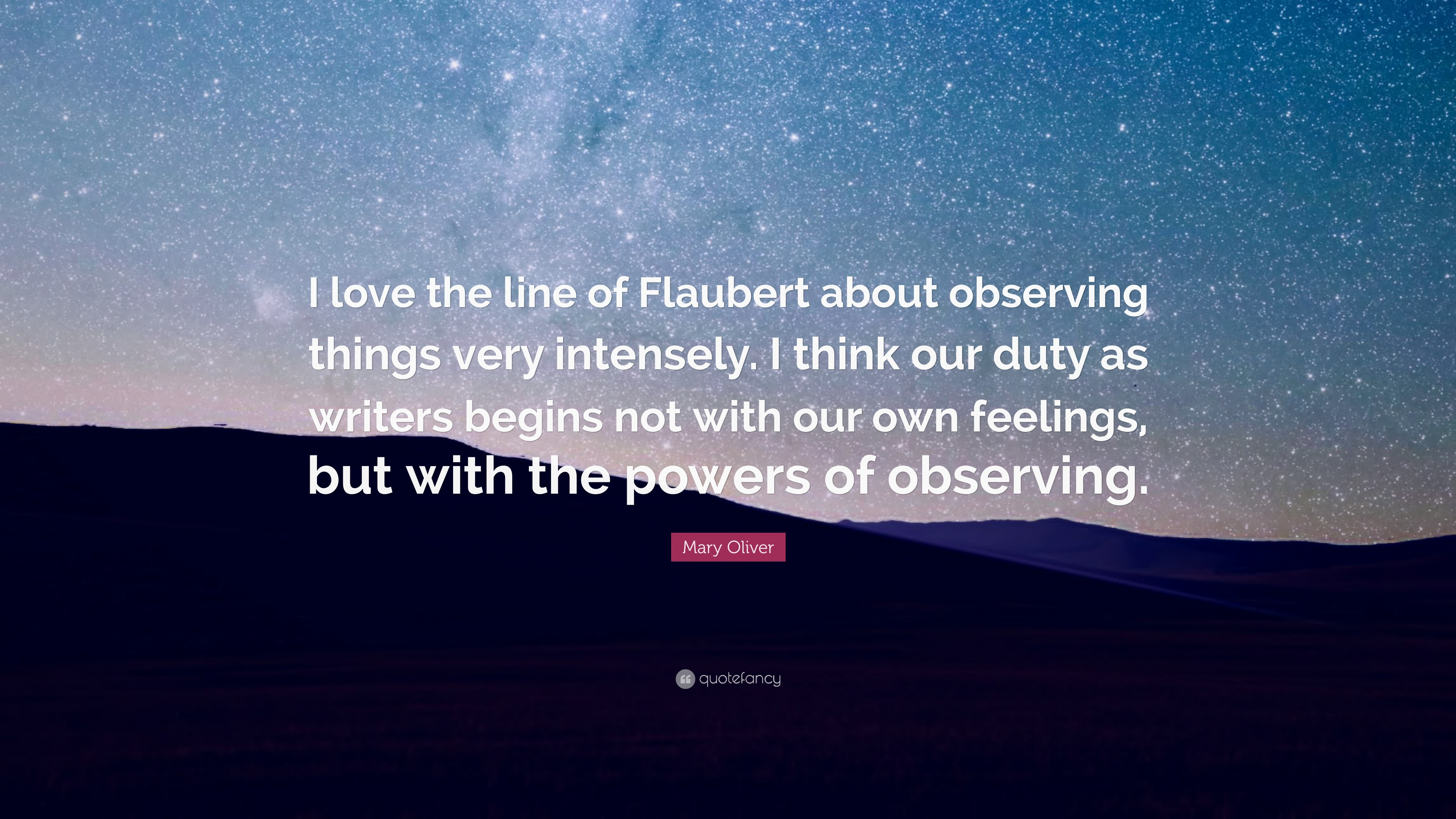 """Mary Oliver Love Quotes Mary Oliver Quote """"I Love The Line Of Flaubert About Observing"""