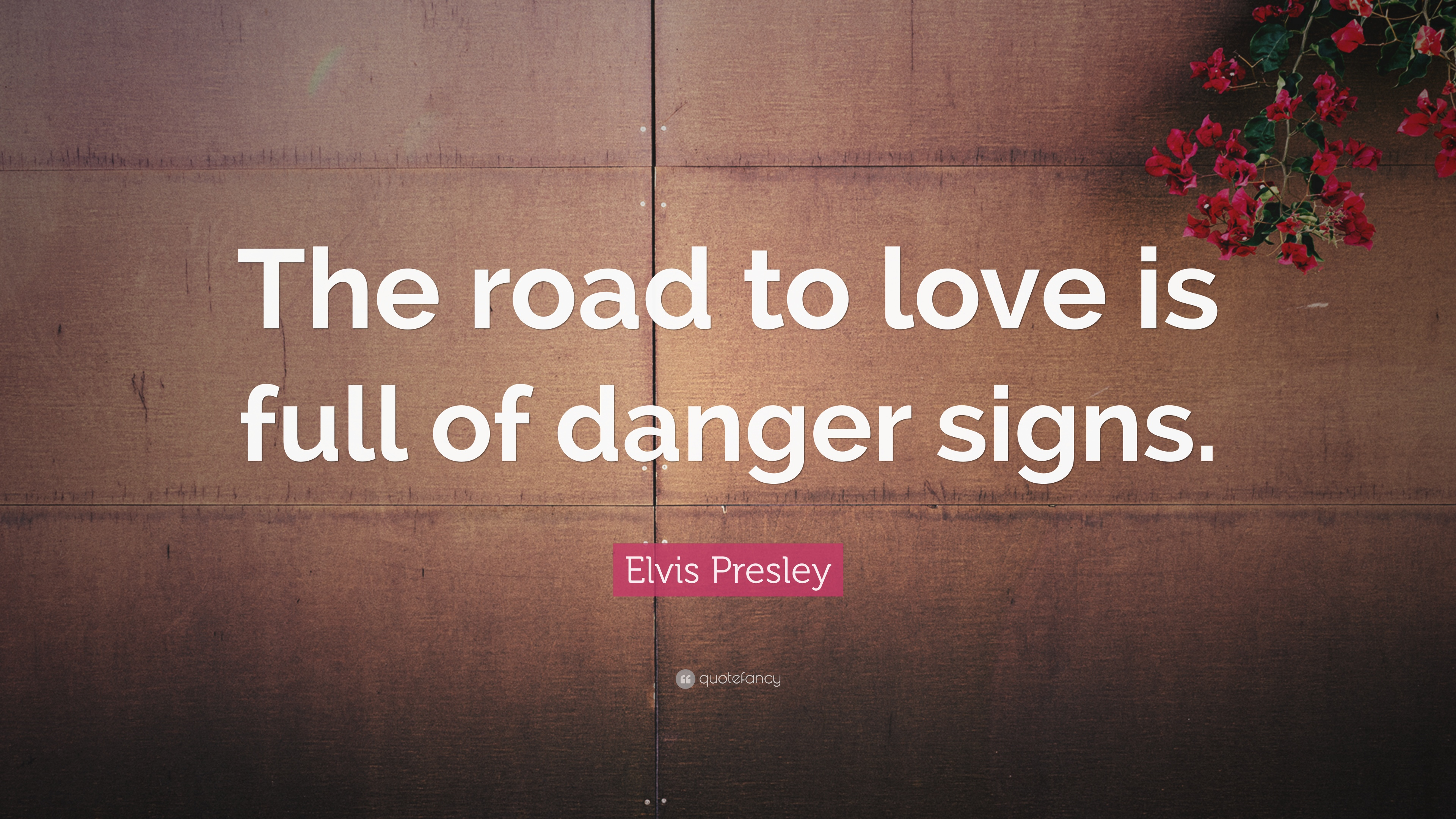"""elvis presley quote: """"the road to love is full of danger signs."""" (12"""
