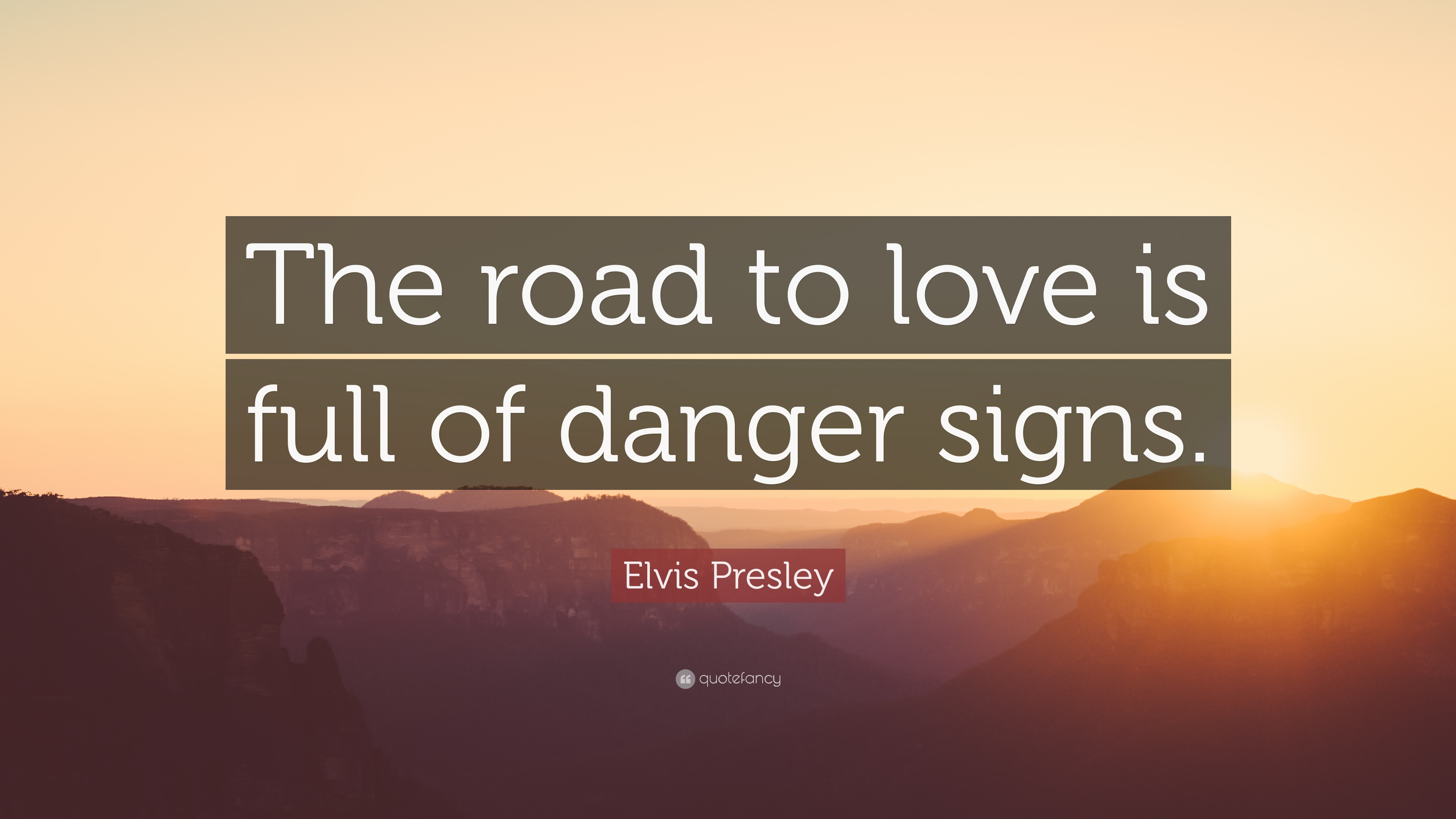 "Love Quote Signs Elvis Presley Quote ""The Road To Love Is Full Of Danger Signs"