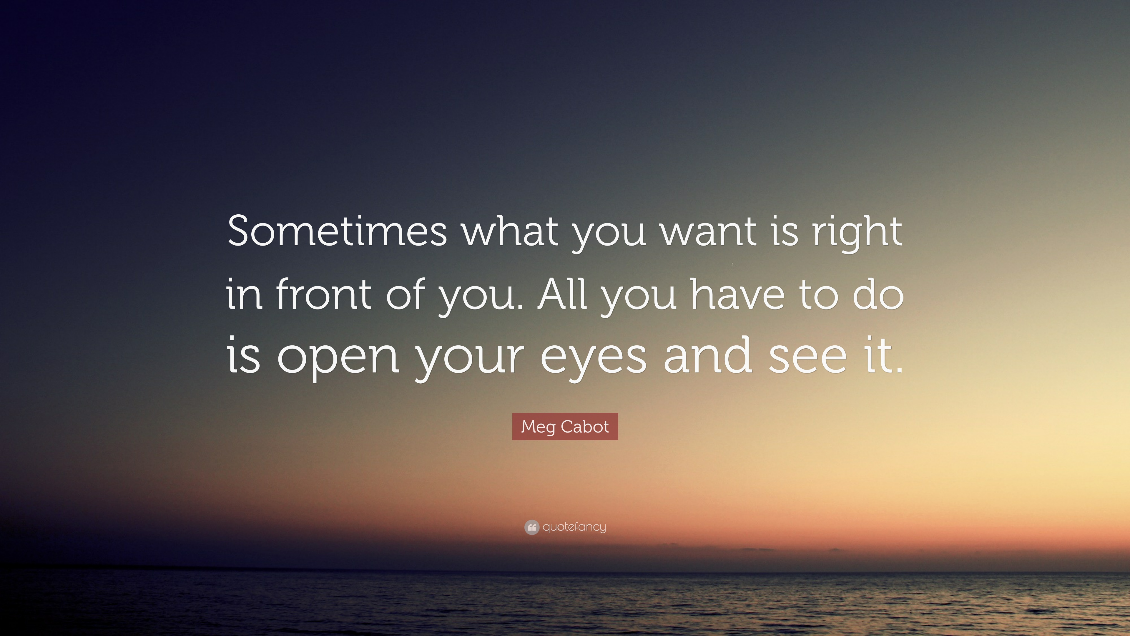 Meg Cabot Quote: U201cSometimes What You Want Is Right In Front Of You.