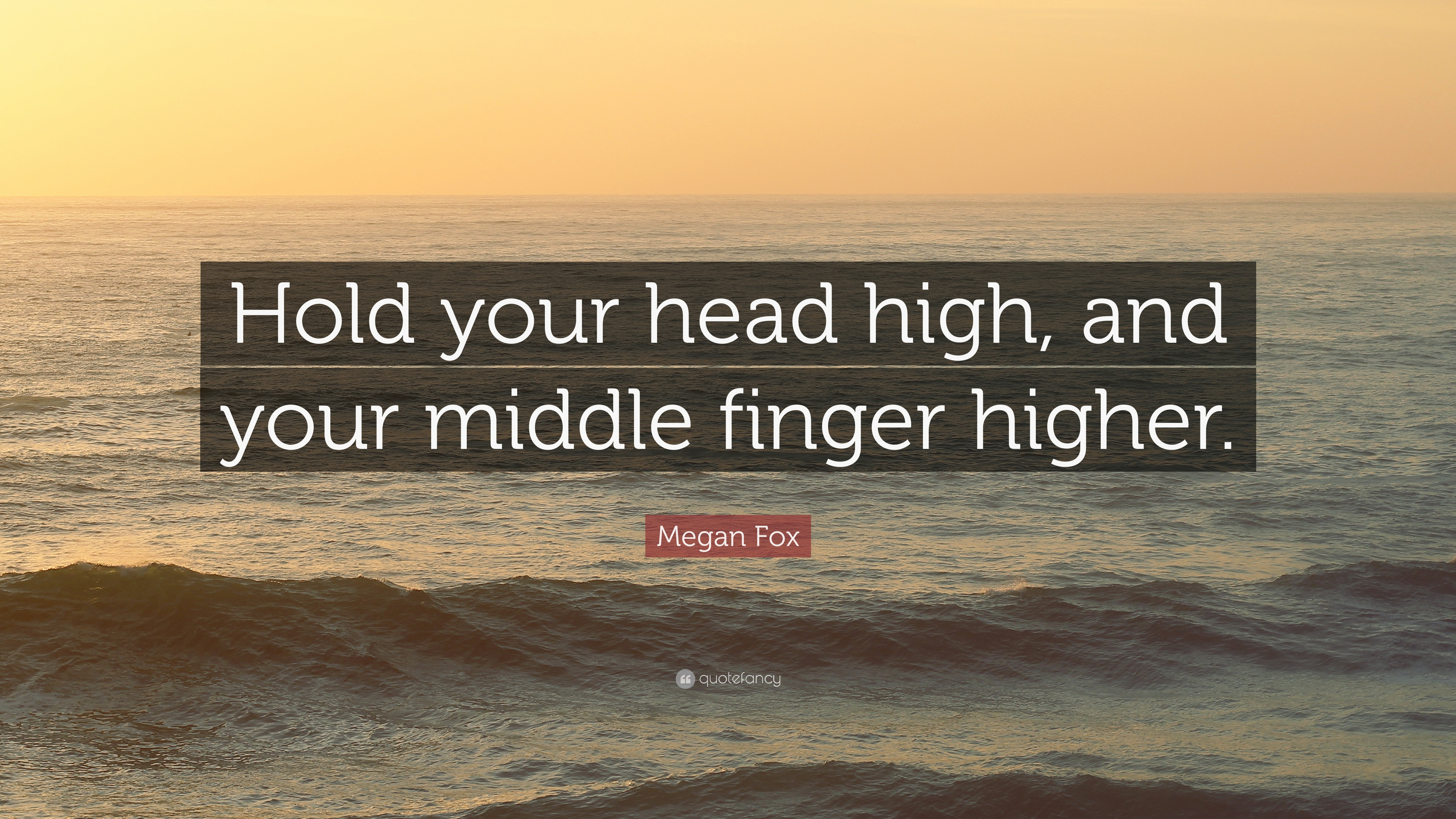 Megan Fox Quote Hold Your Head High And Your Middle Finger Higher