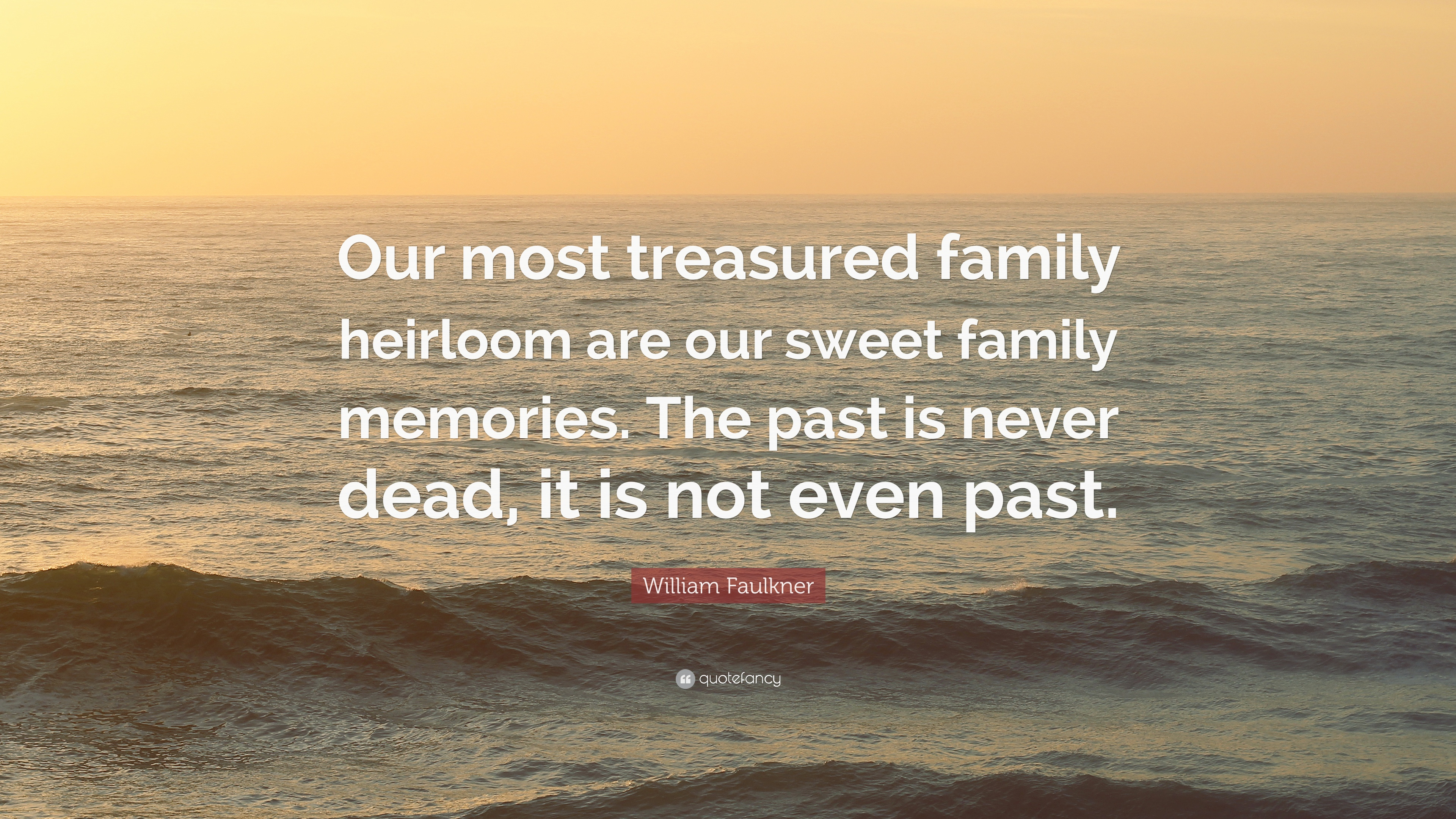 """william faulkner quote """"our most treasured family heirloom are"""