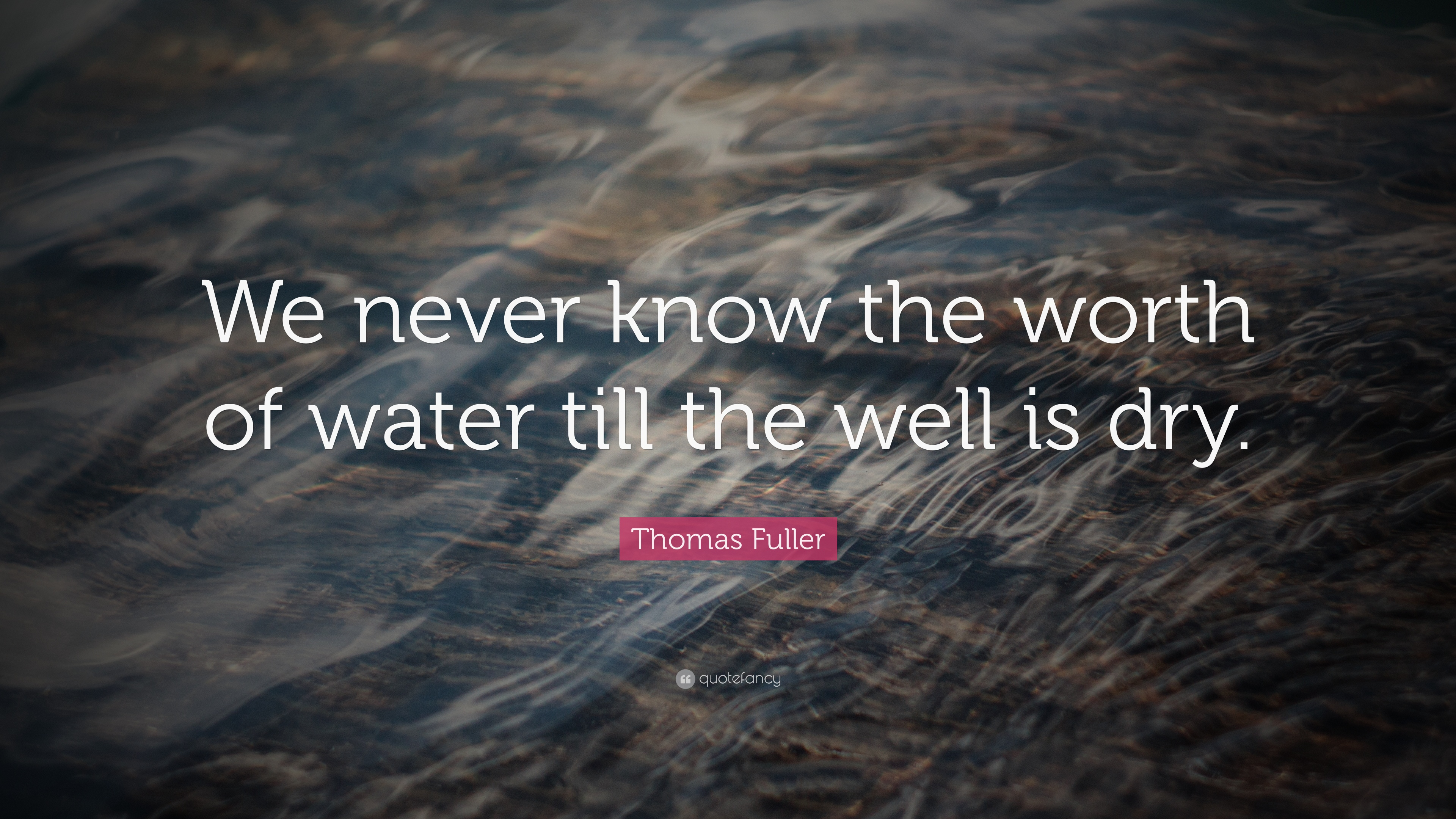 "Thomas Fuller Quote: ""We never know the worth of water till the"