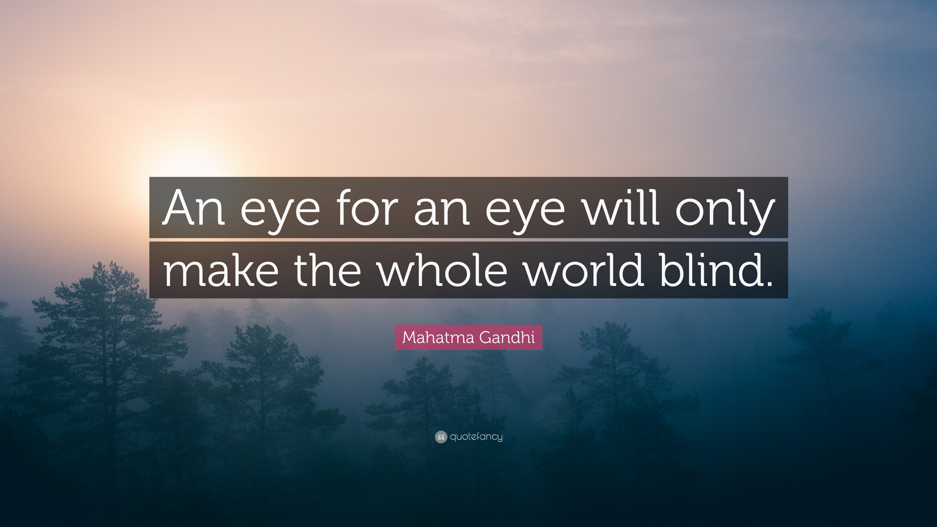 an eye for an eye makes the world blind essay Gandhi essays an eye for an eye makes the whole world blind this was the one quote that stood out to me from all of the other quotes that gandhi said in the movie.