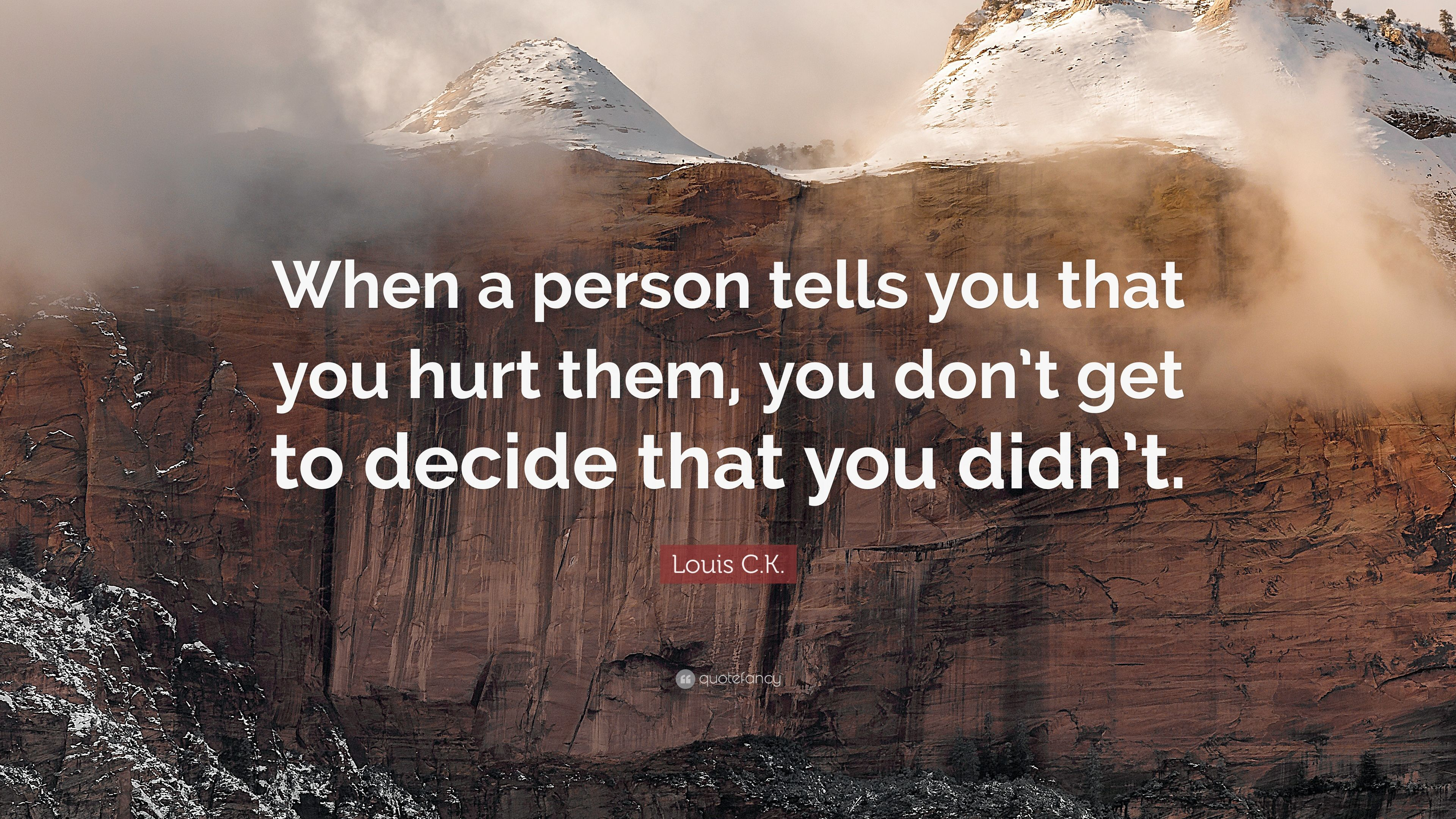 """When That One Person Quotes: Louis C.K. Quote: """"When A Person Tells You That You Hurt"""