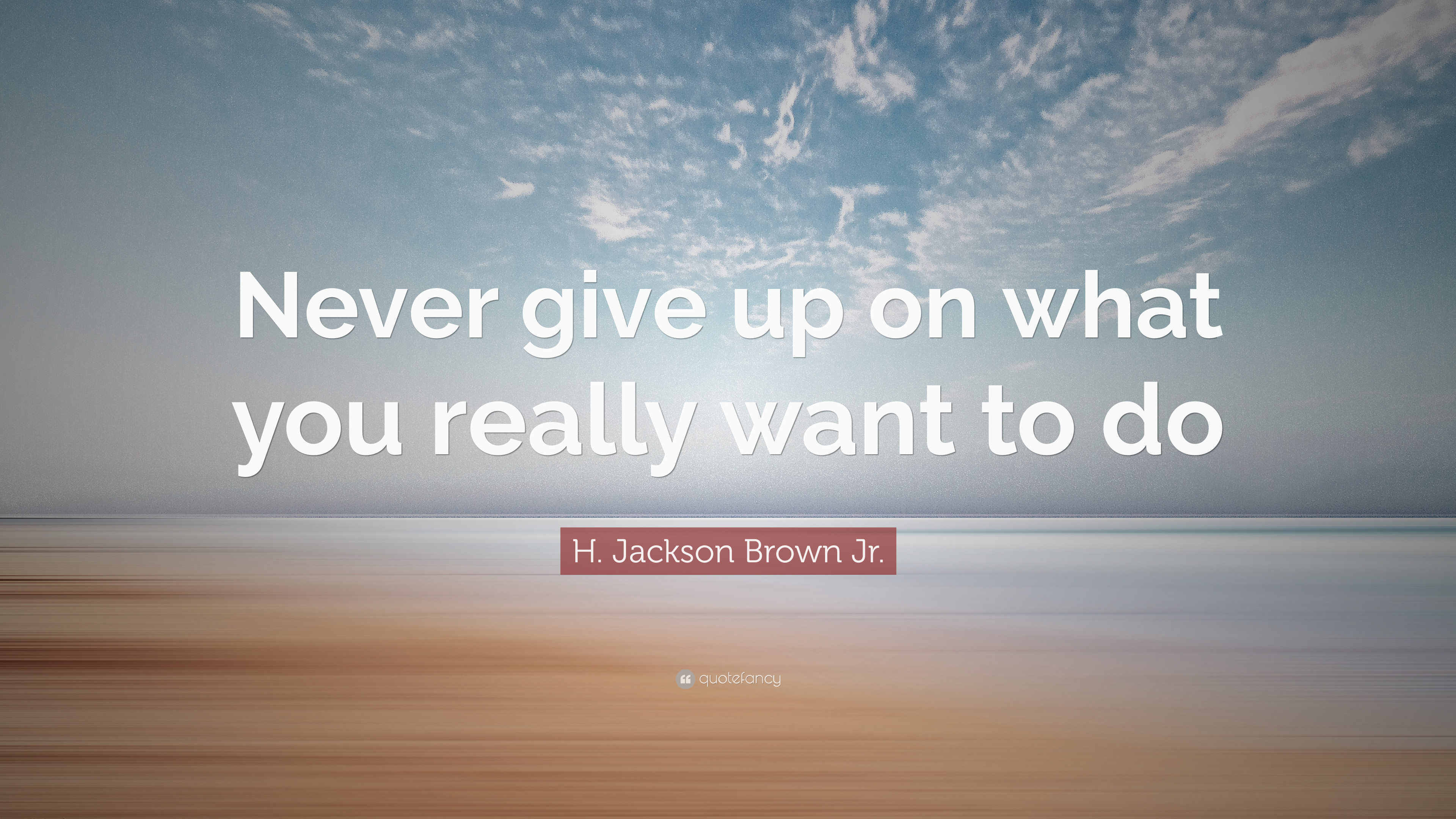 """H. Jackson Brown Jr. Quote: """"Never Give Up On What You"""