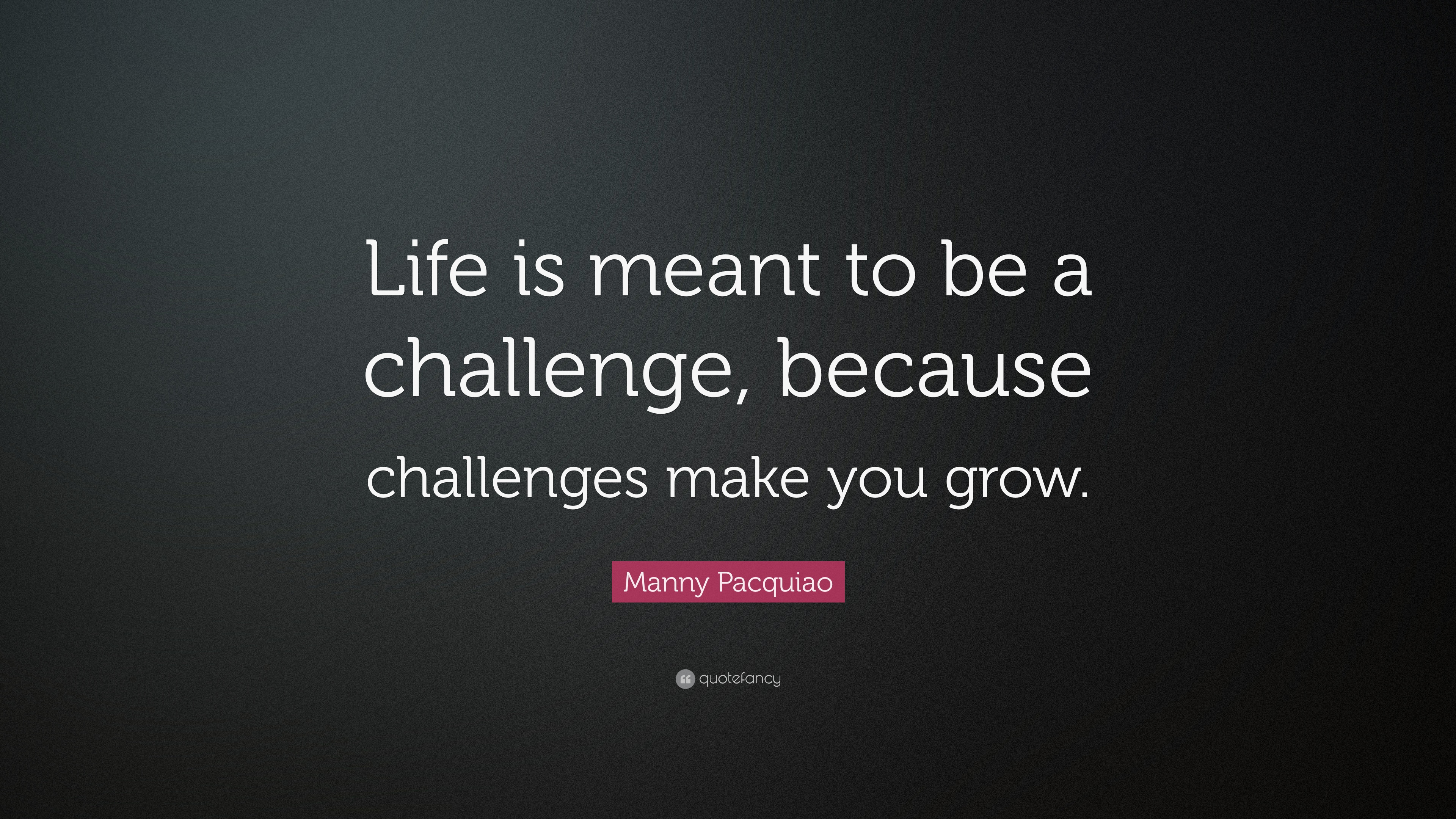 Manny Pacquiao Quote Life Is Meant To Be A Challenge Because