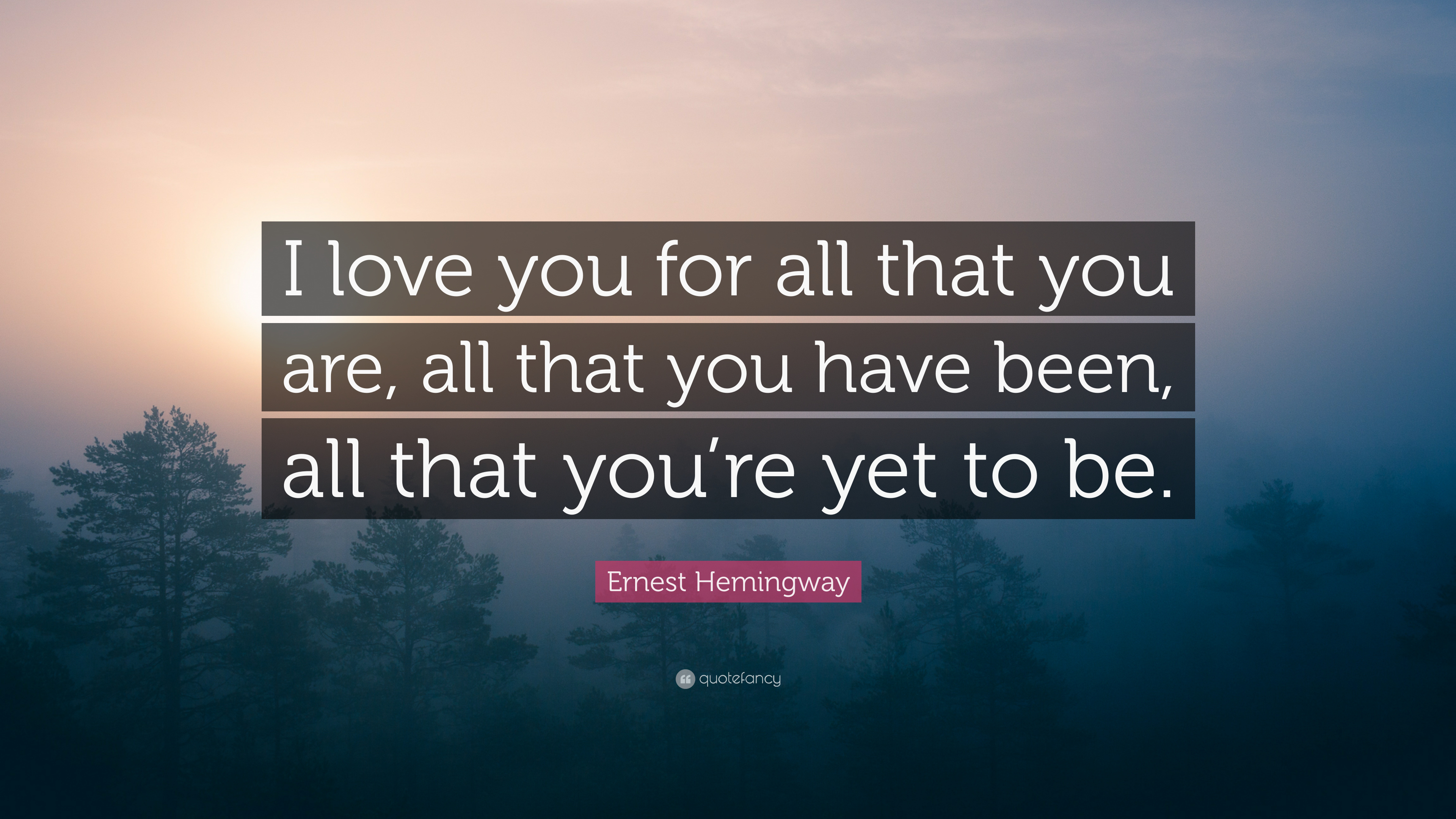 Ernest Hemingway Quote I Love You For All That You Are All That