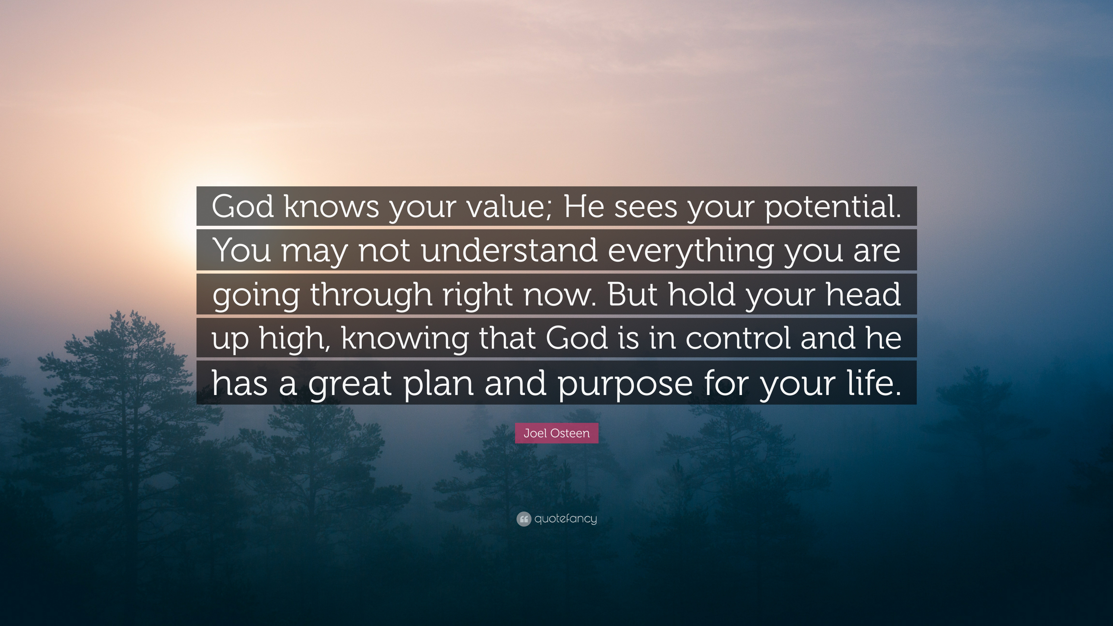 """Joel Osteen Quote: """"God Knows Your Value; He Sees Your"""