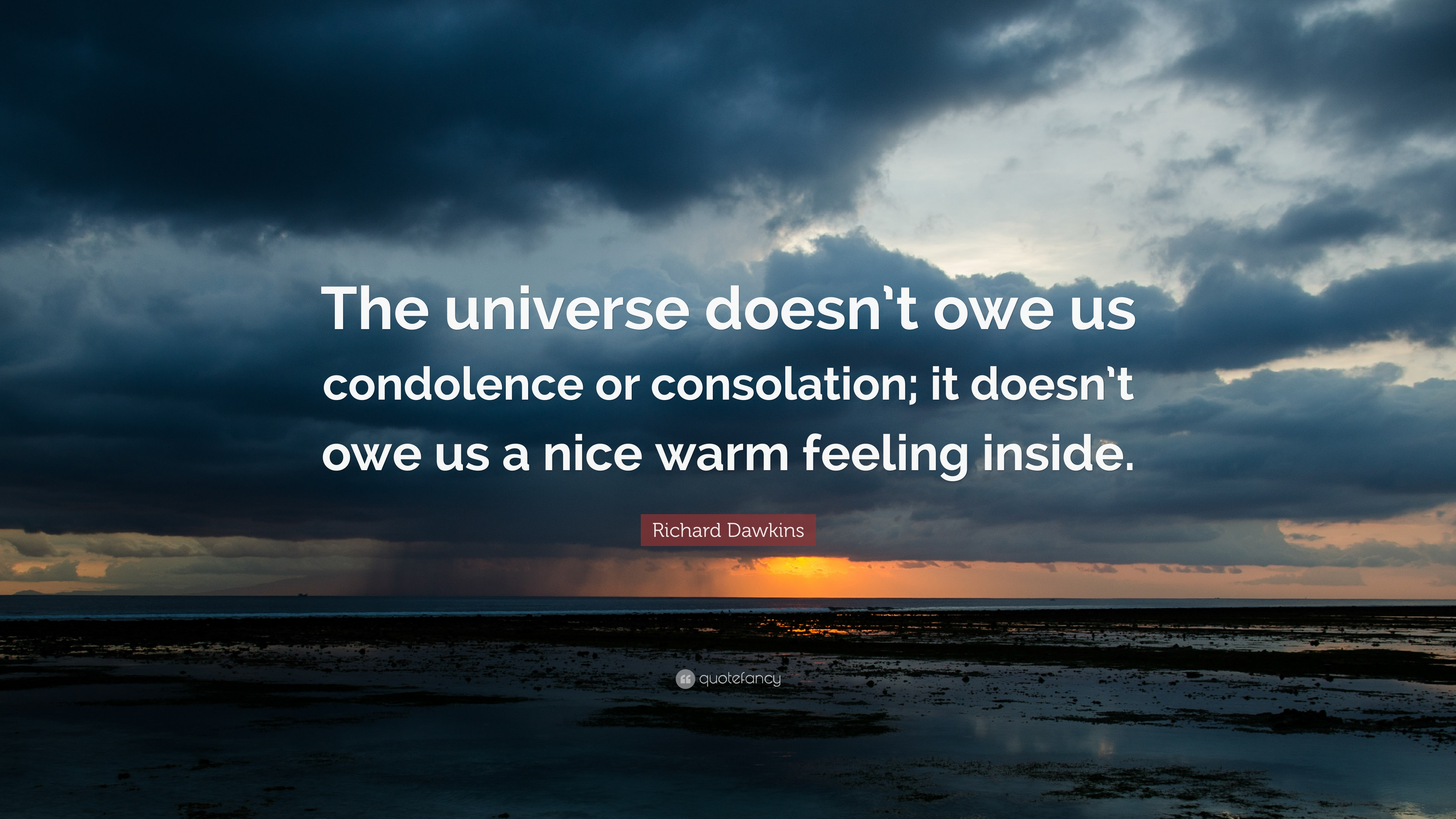 Richard dawkins quote the universe doesnt owe us condolence or richard dawkins quote the universe doesnt owe us condolence or consolation altavistaventures Images