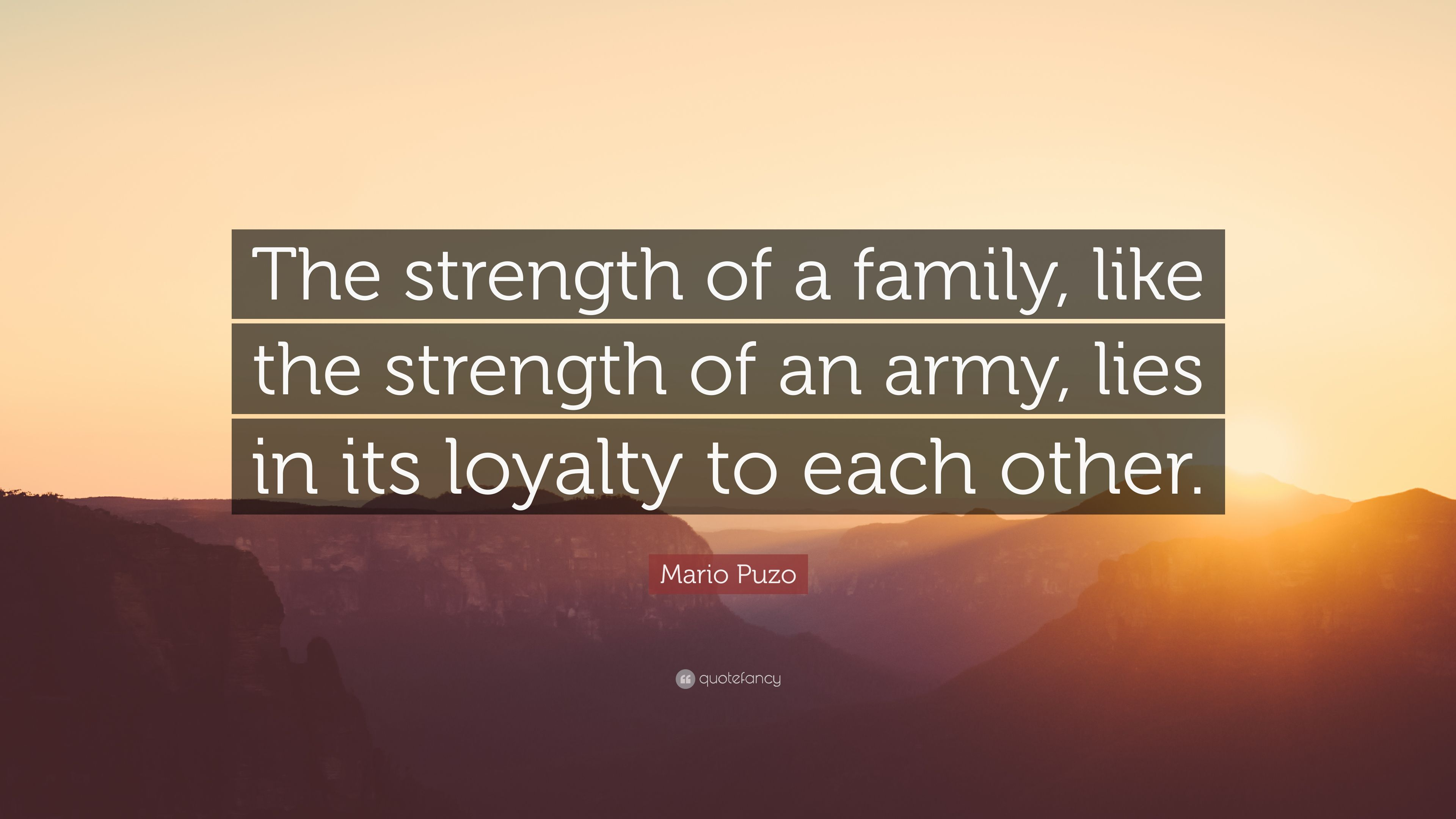 """Quotes About Family Strength: Mario Puzo Quote: """"The Strength Of A Family, Like The"""