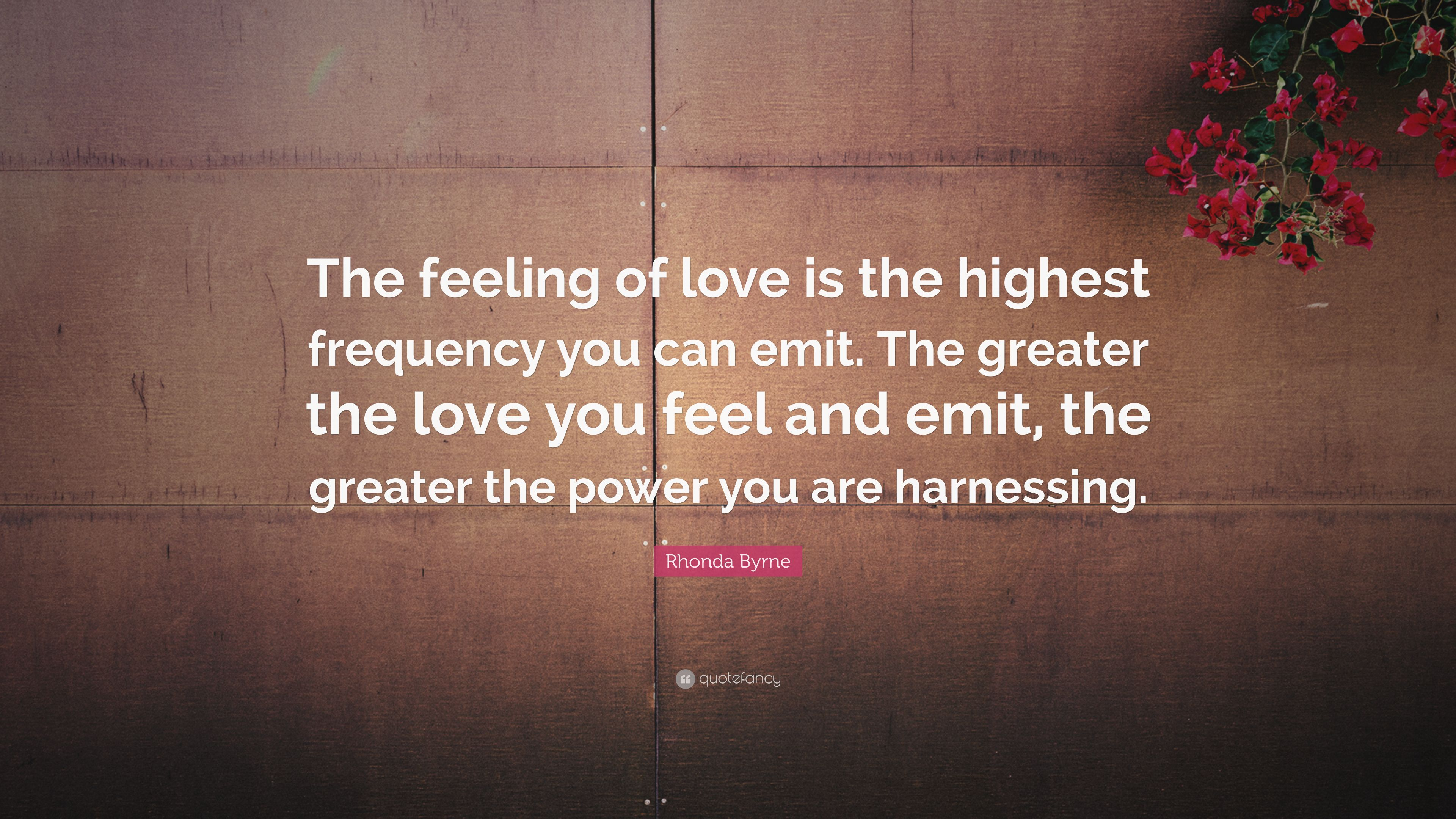 Rhonda Byrne Quote: The feeling of love is the highest