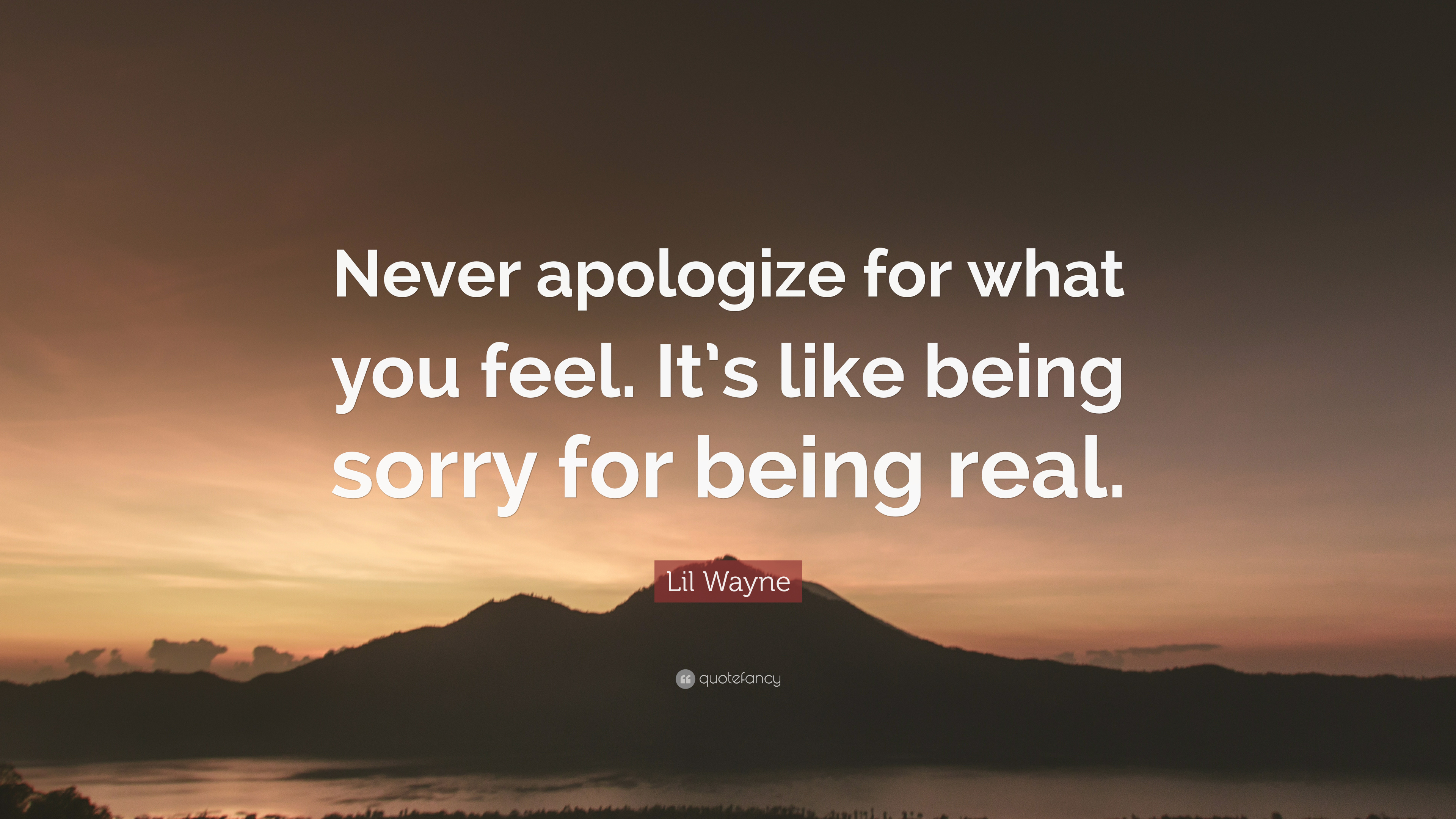 "If You Feel Like You Are Being: Lil Wayne Quote: ""Never Apologize For What You Feel. It's"