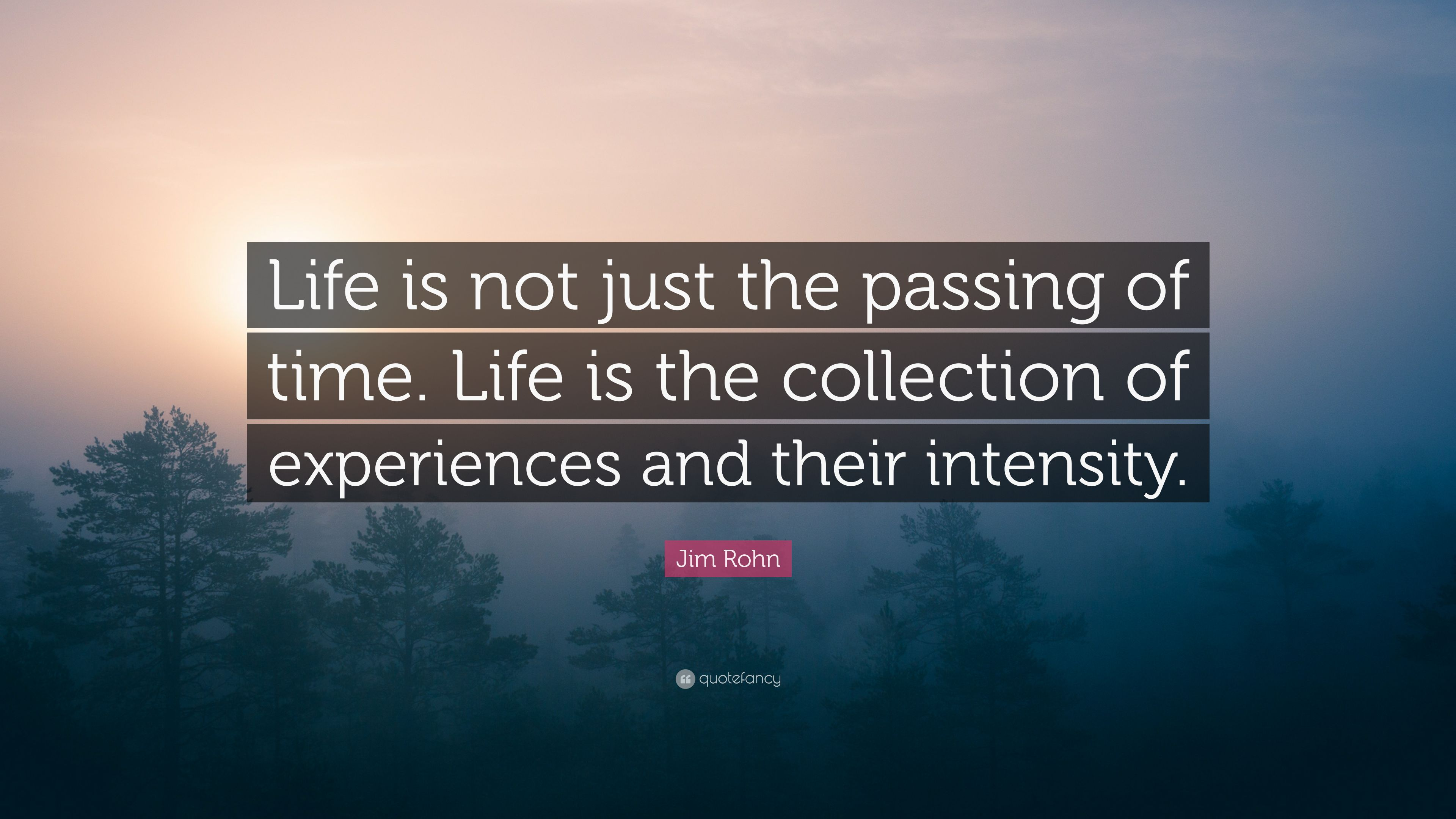 """Jim Rohn Quote: """"Life Is Not Just The Passing Of Time"""
