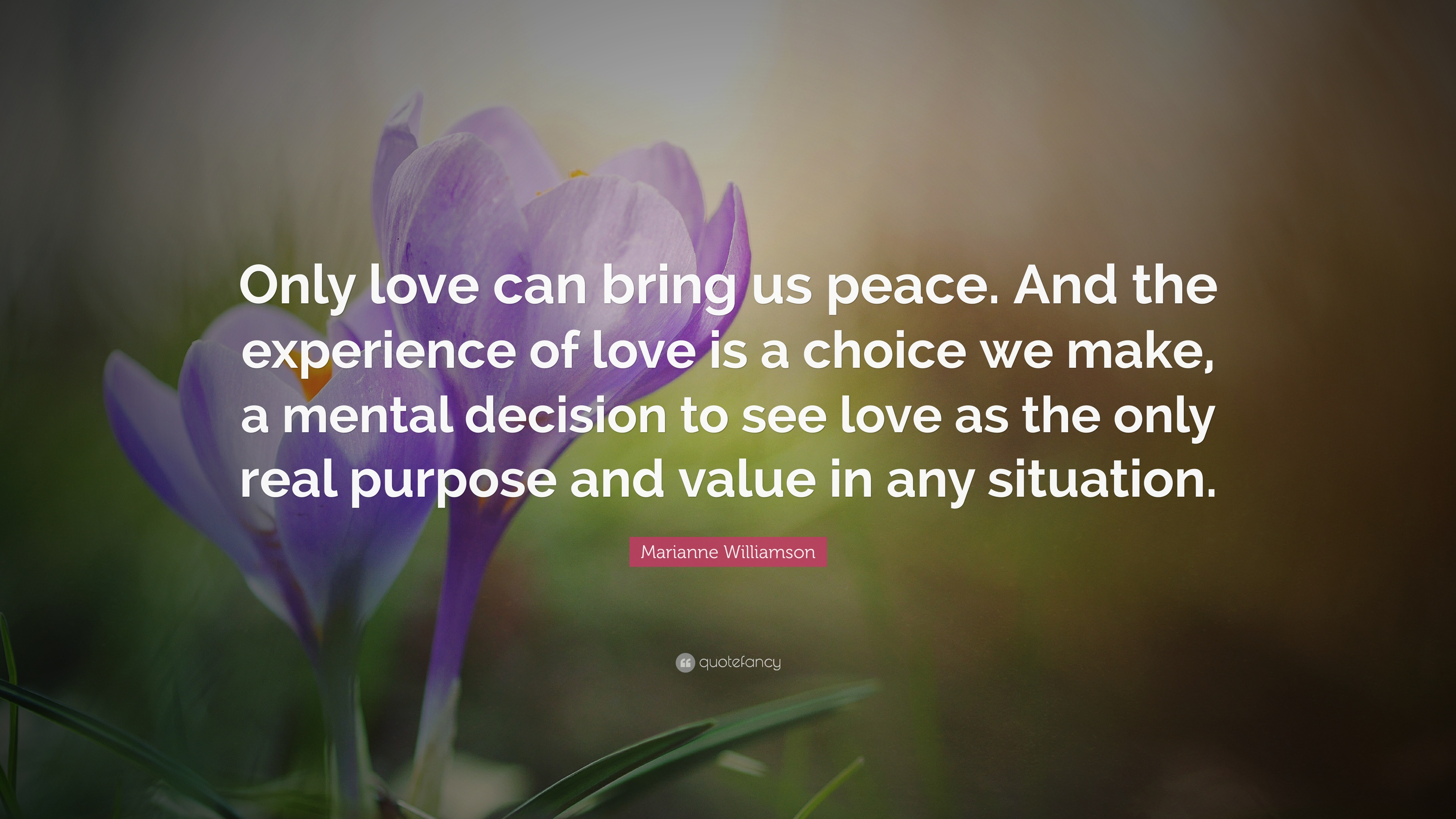 Beau Marianne Williamson Quote: U201cOnly Love Can Bring Us Peace. And The  Experience Of
