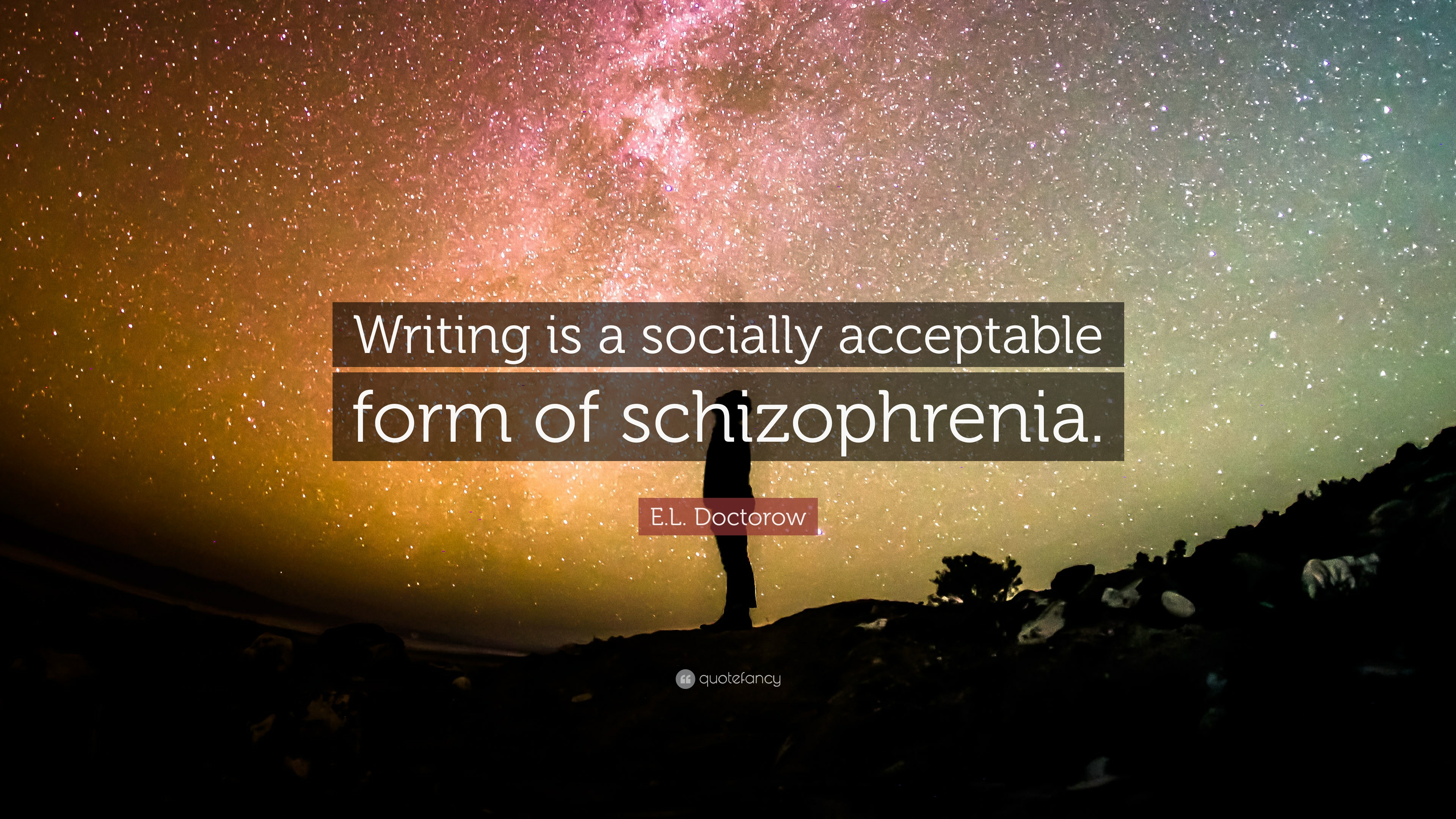 """E L Doctorow Quote: €�writing Is A Socially Acceptable Form Of  Schizophrenia"""""""