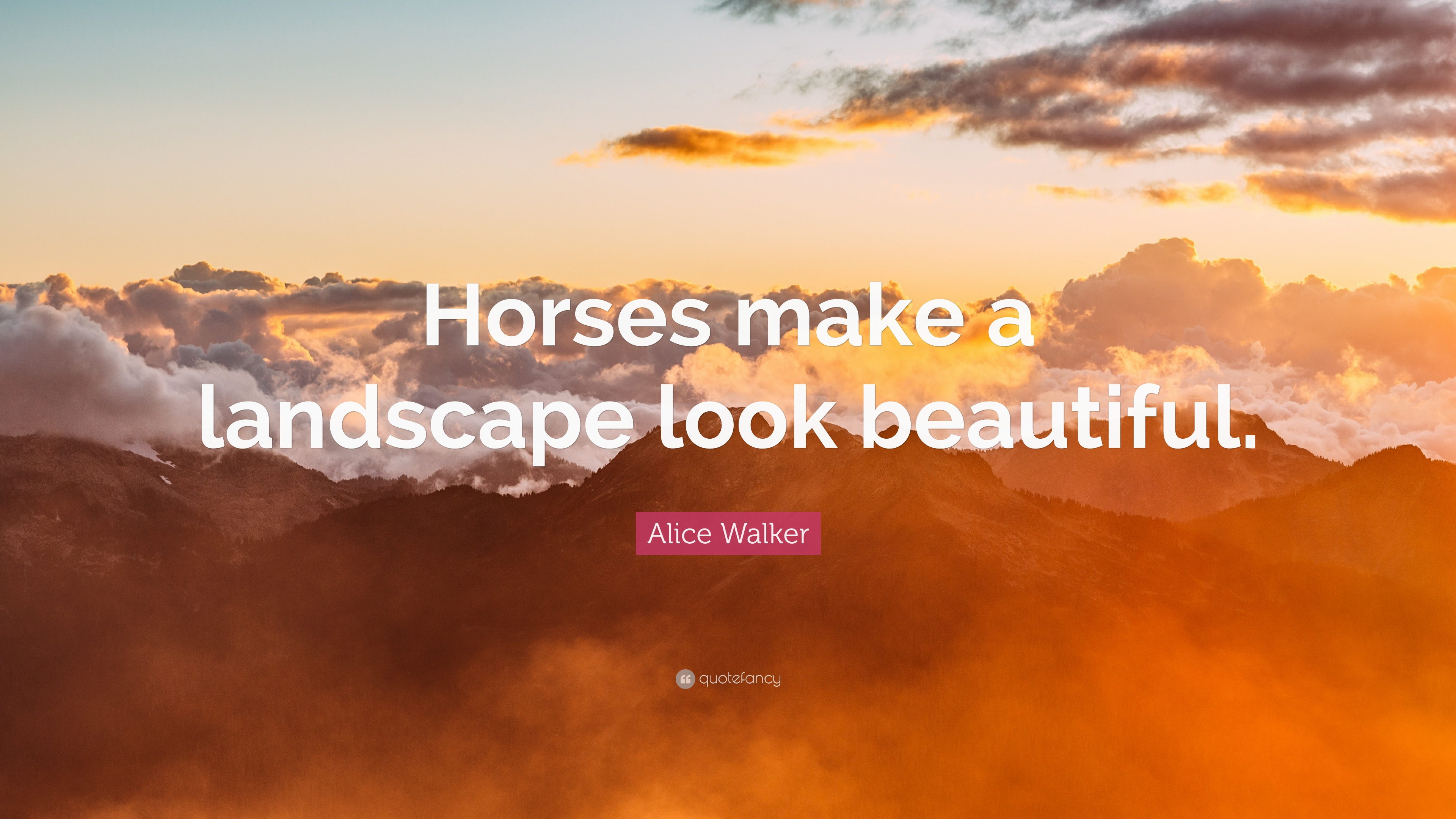 Alice Walker Quote: U201cHorses Make A Landscape Look Beautiful.u201d
