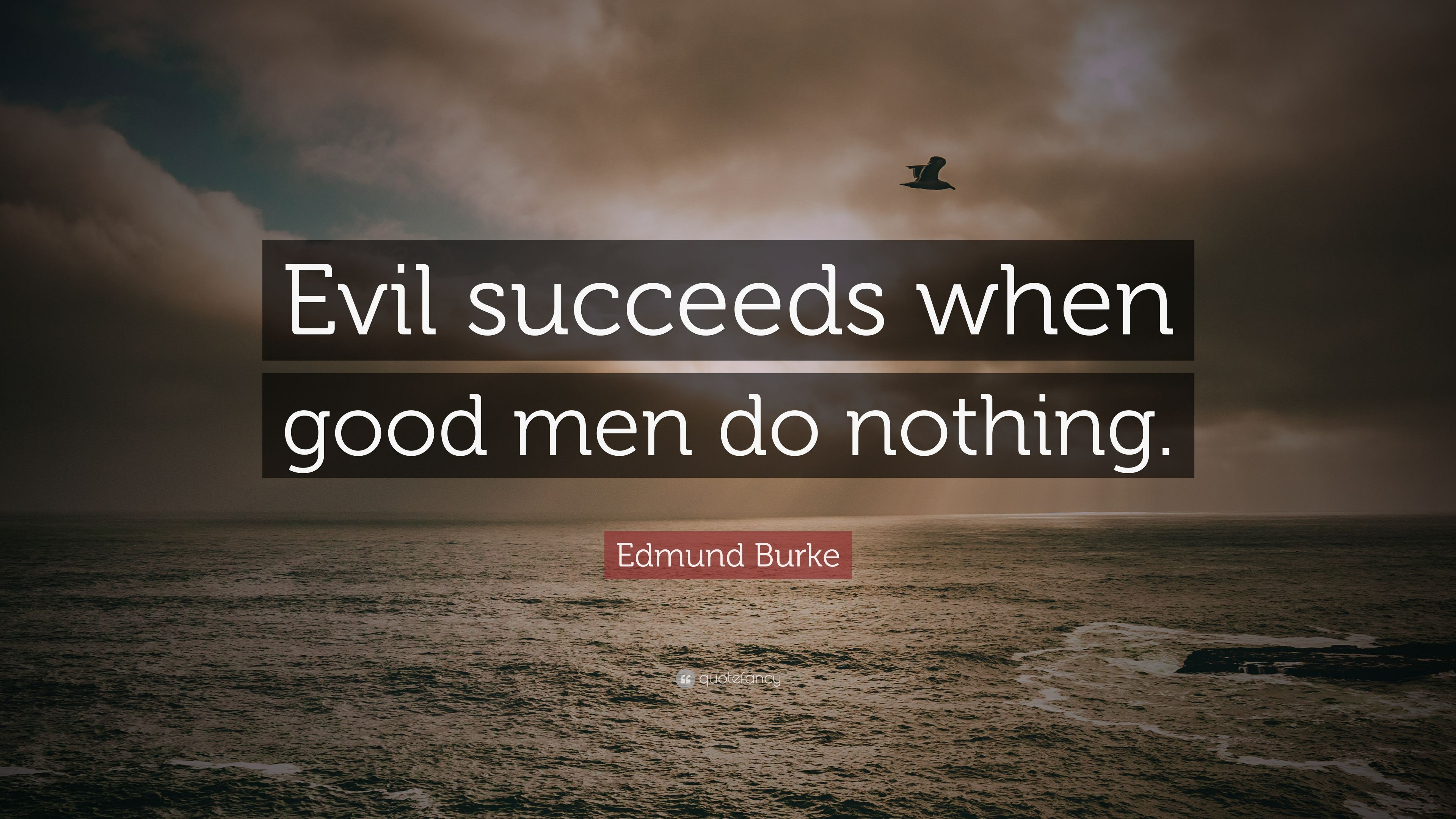 when good men do nothing Edmund burke said all that is necessary for the triumph of evil is that good men do nothing do not allow evil to triumph do not do sit by and do nothing stand up and be counted, speak up.