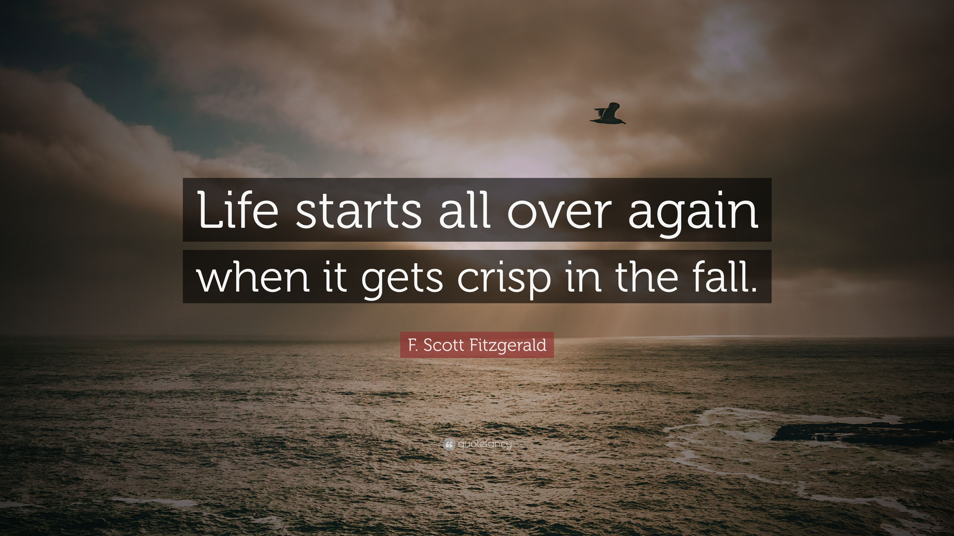 F scott fitzgerald quote life starts all over again when it gets crisp in the fall 12 - The house in which life starts over ...
