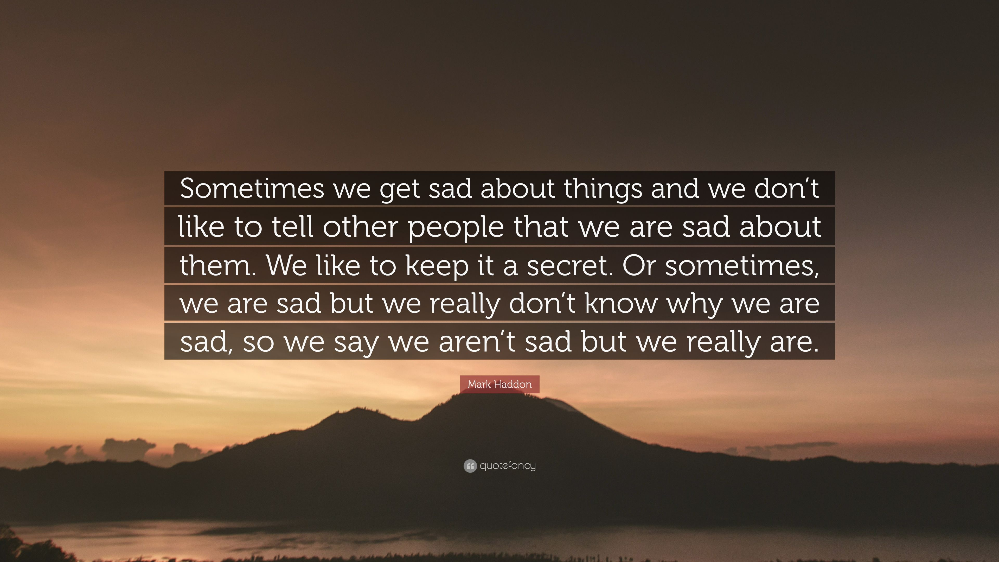 """Mark Haddon Quote: """"Sometimes we get sad about things and ..."""