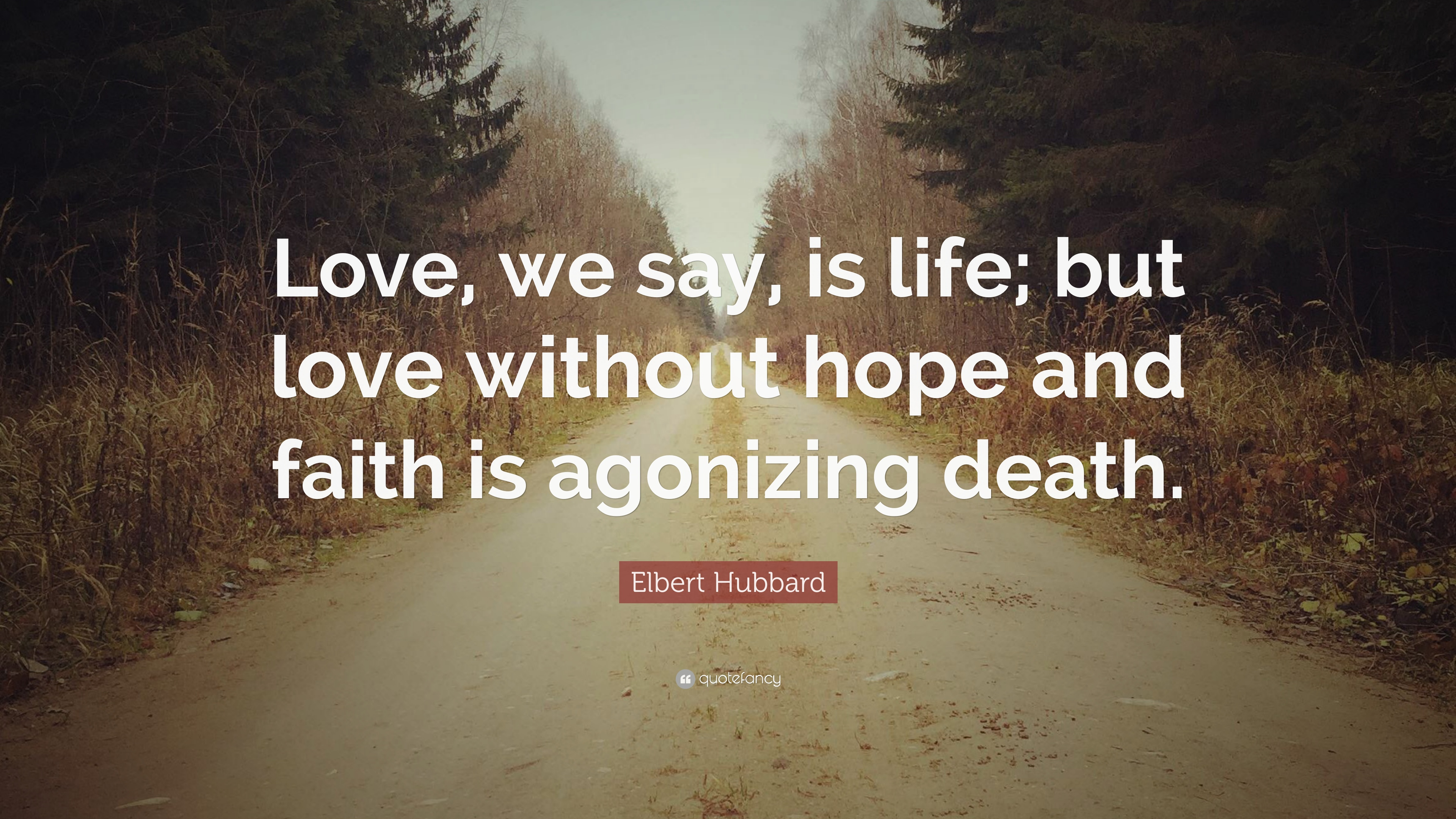 """Faith Love Hope Quotes Elbert Hubbard Quote """"Love We Say Is Life But Love Without"""