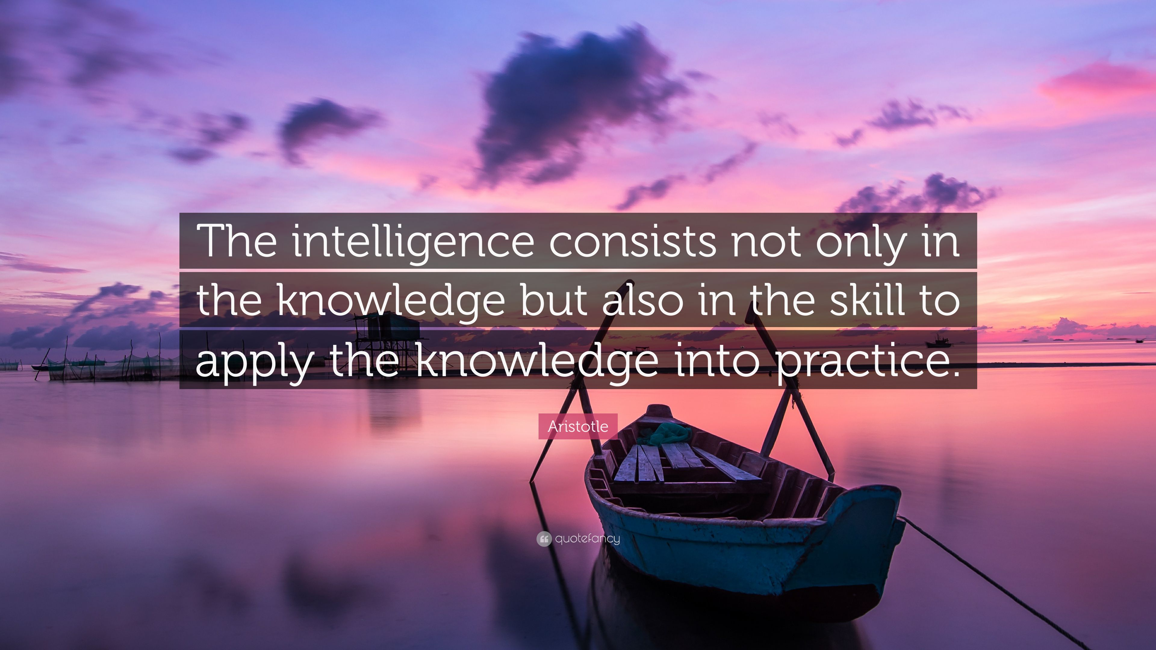 "Aristotle Quote About Practice: Aristotle Quote: ""The Intelligence Consists Not Only In"