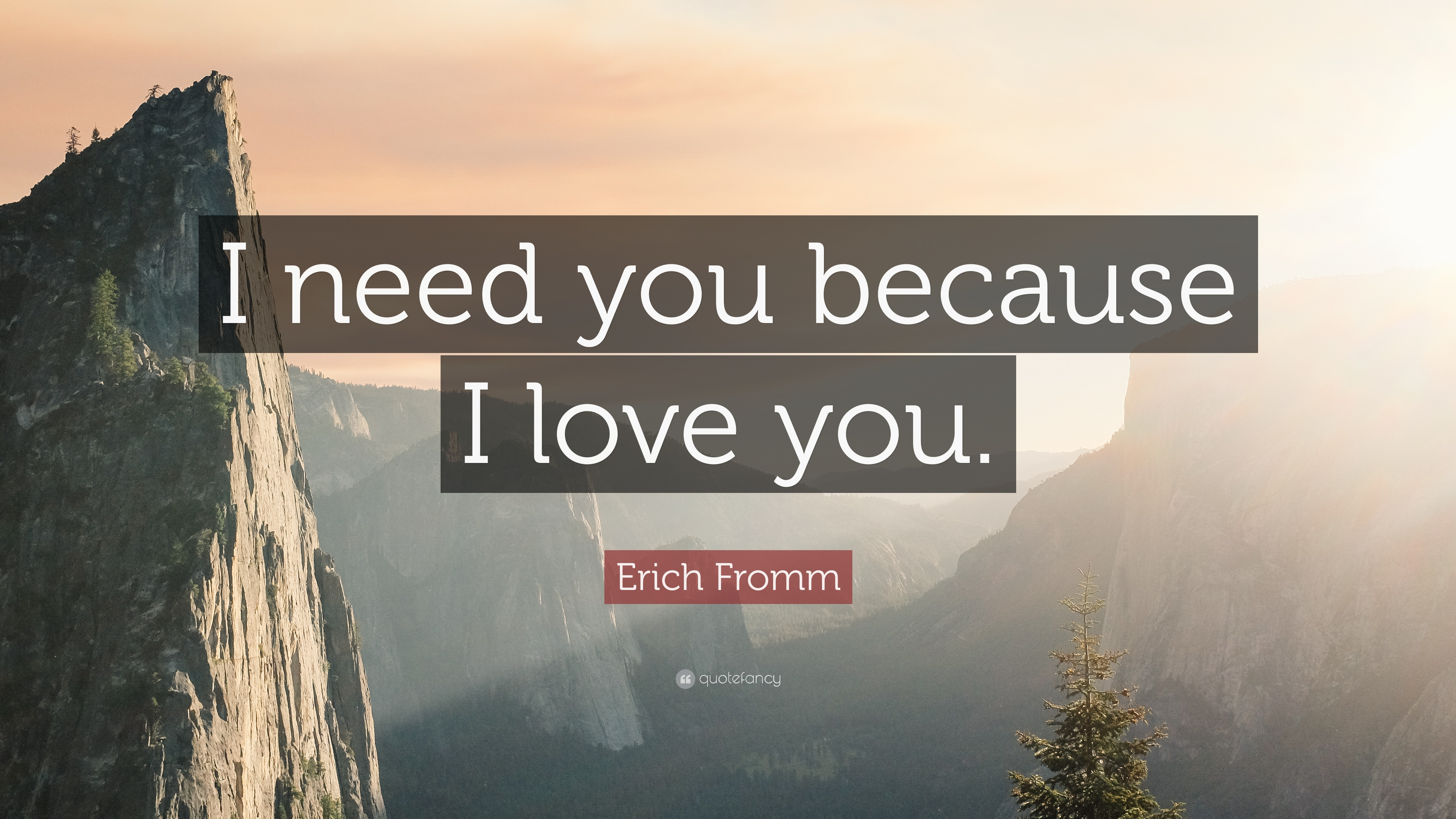 """Erich Fromm Quote: """"I Need You Because I Love You."""" (9"""