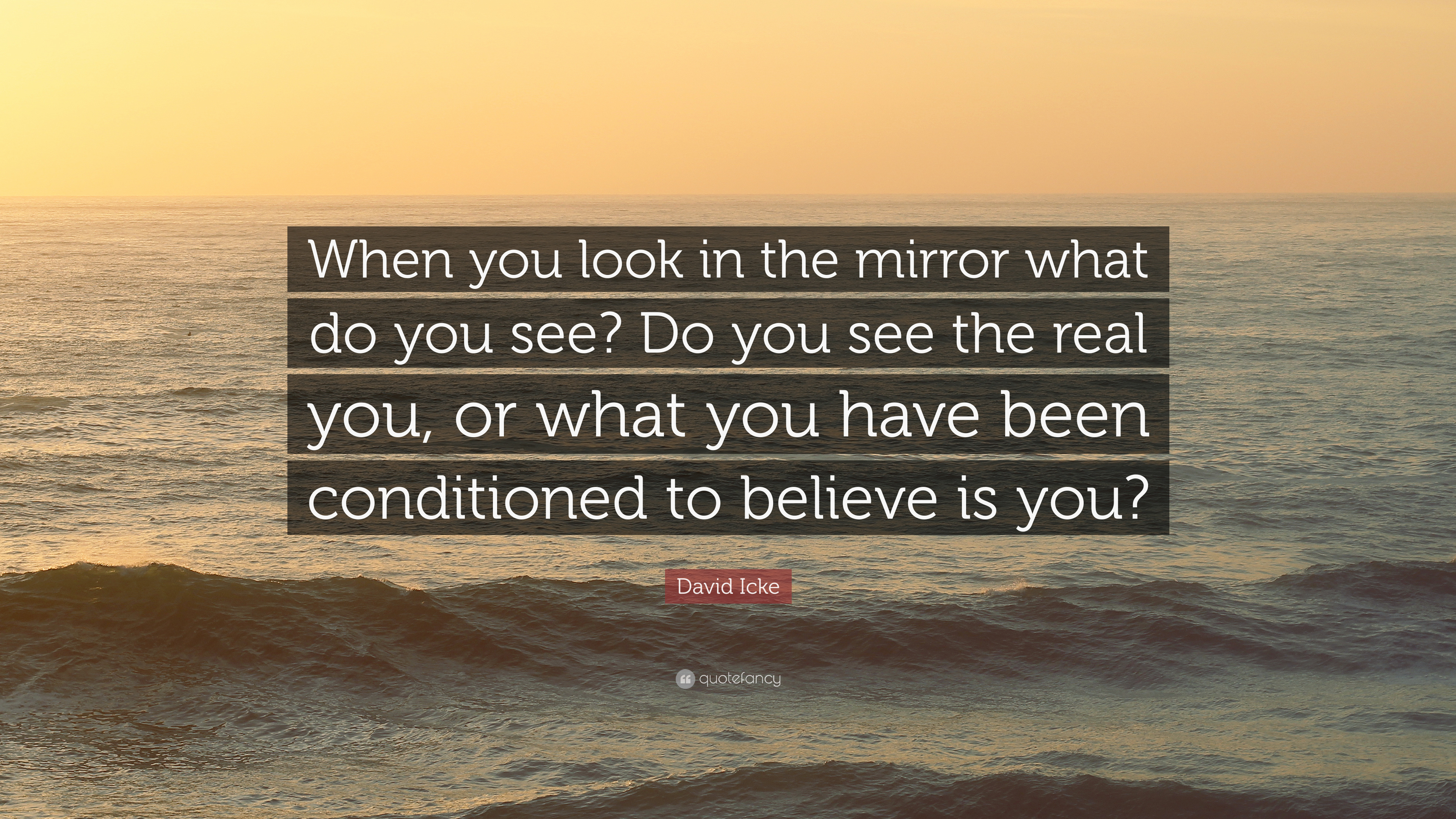 David Icke Quote When You Look In The Mirror What Do You See Do