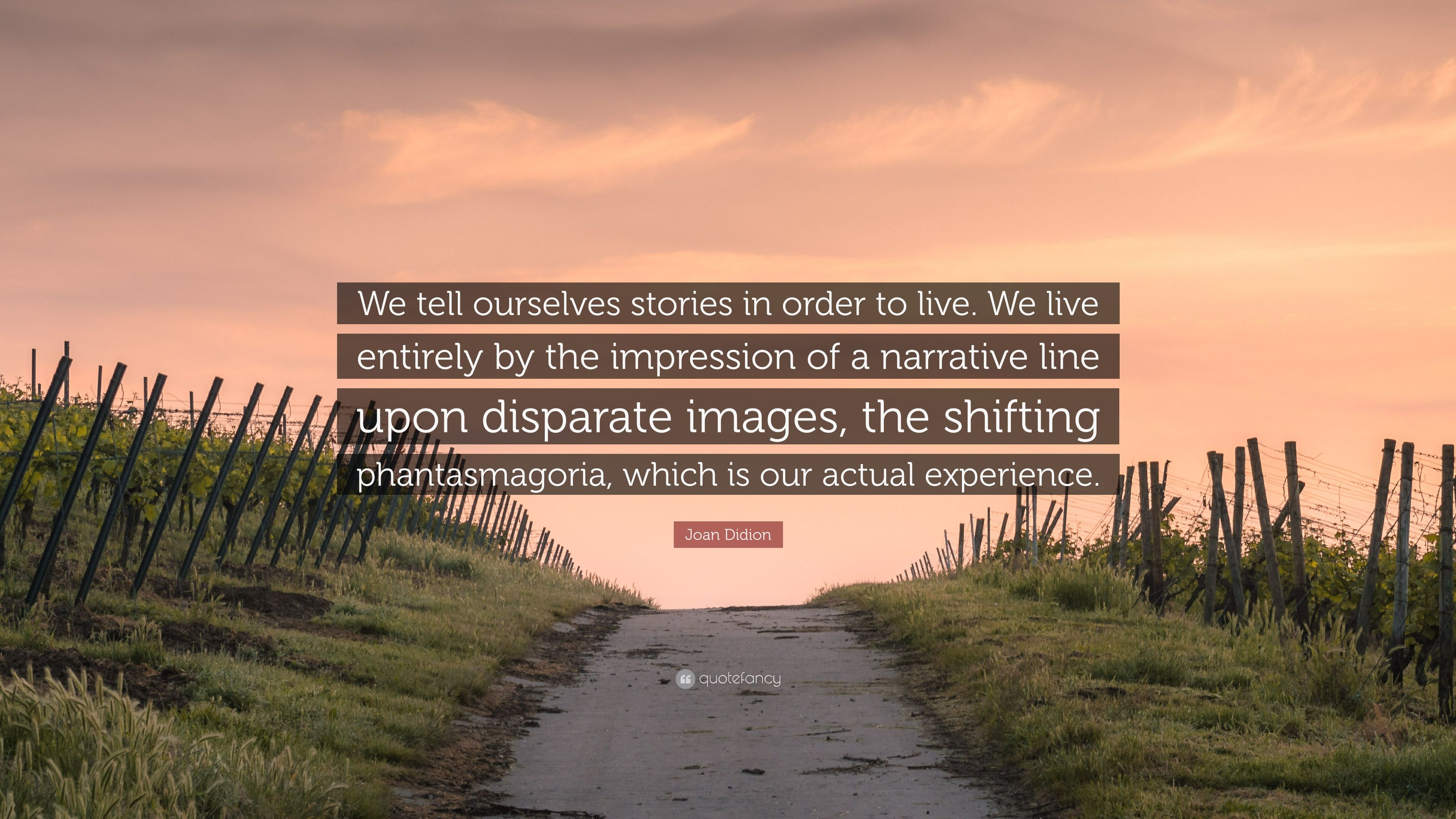 "Joan Didion Quote: ""We Tell Ourselves Stories In Order To"