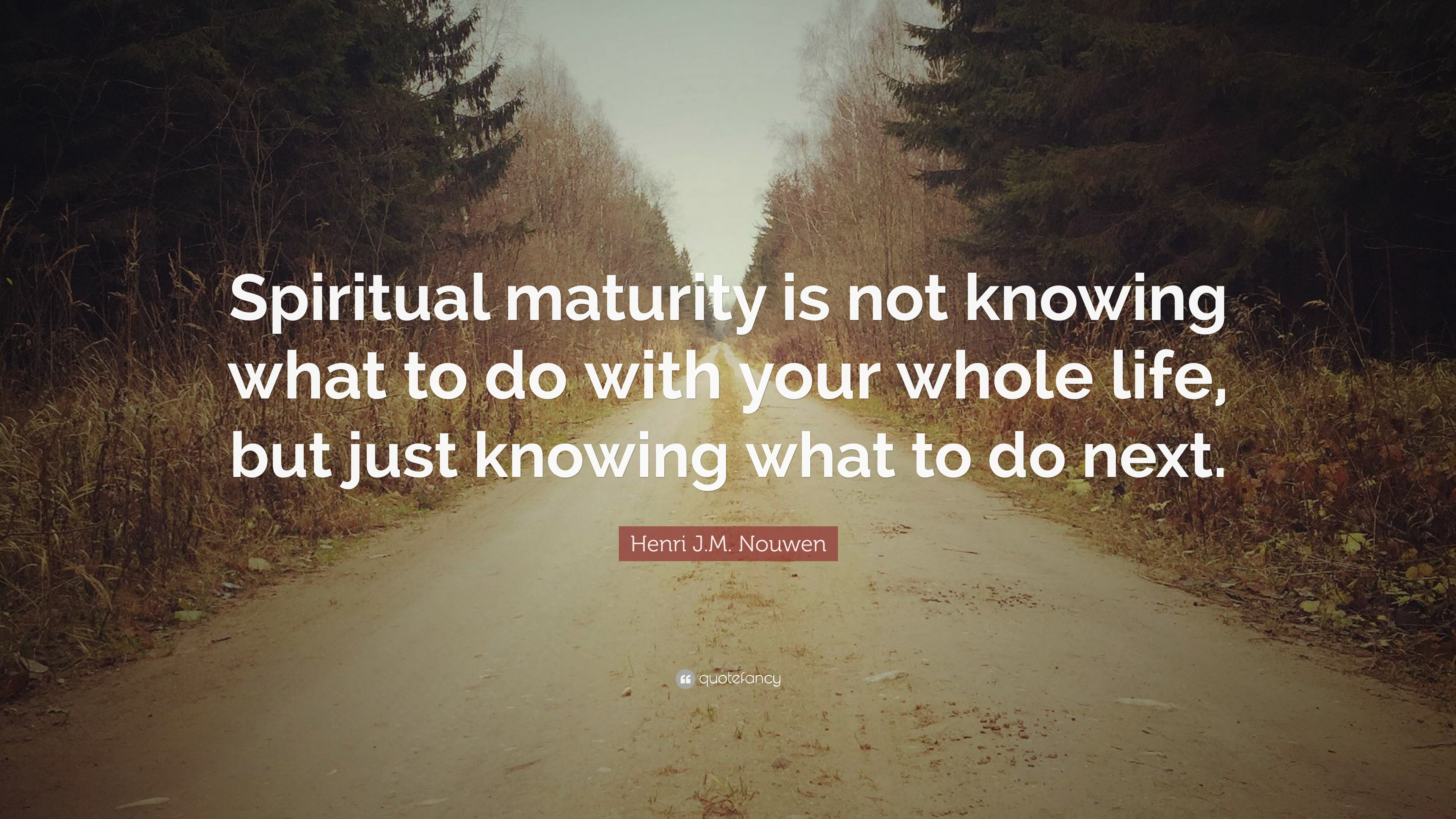 Henri Jm Nouwen Quote Spiritual Maturity Is Not Knowing What To