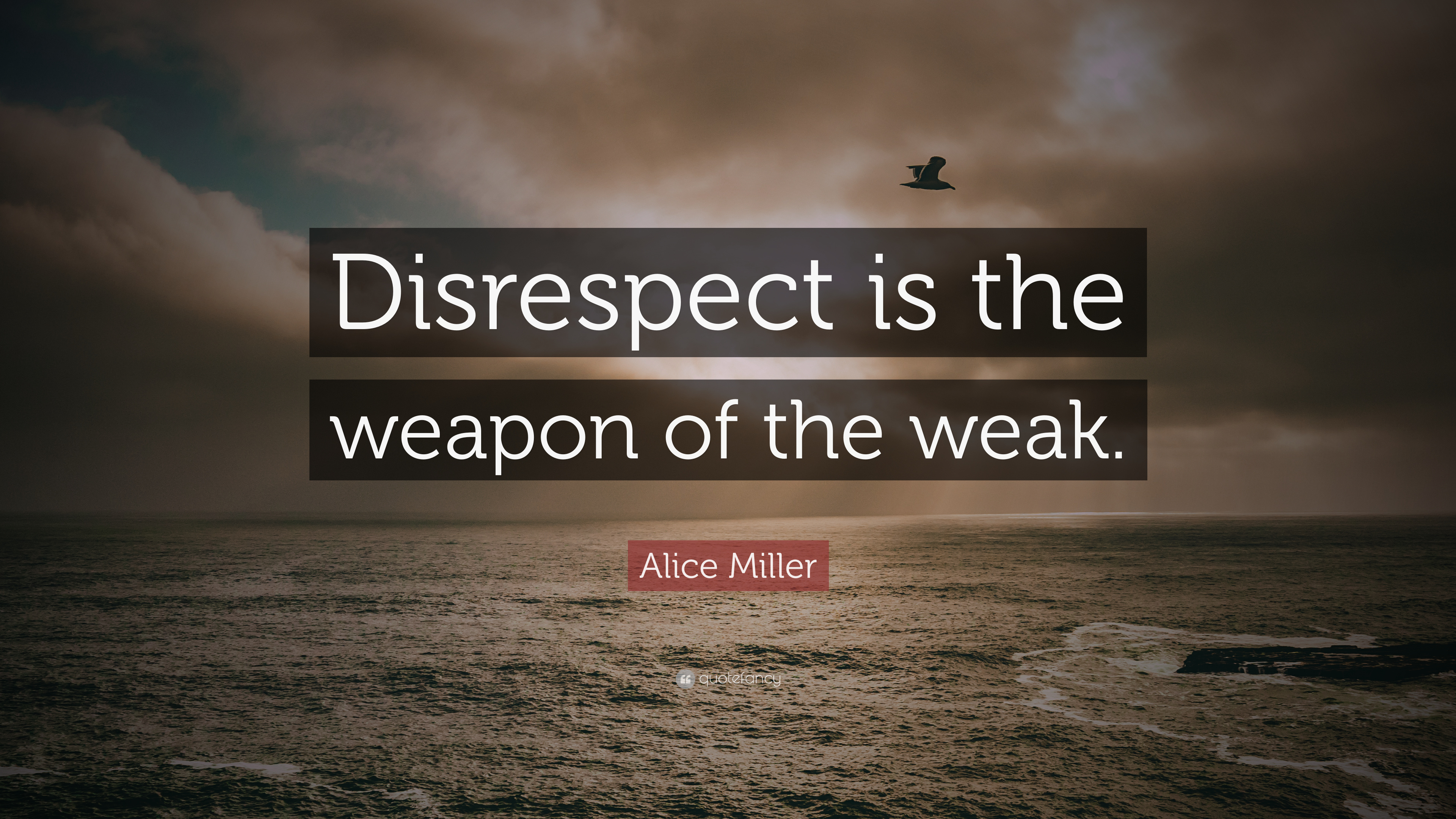 "Disrespect Quotes Alice Miller Quote: ""Disrespect is the weapon of the weak."" (9  Disrespect Quotes"