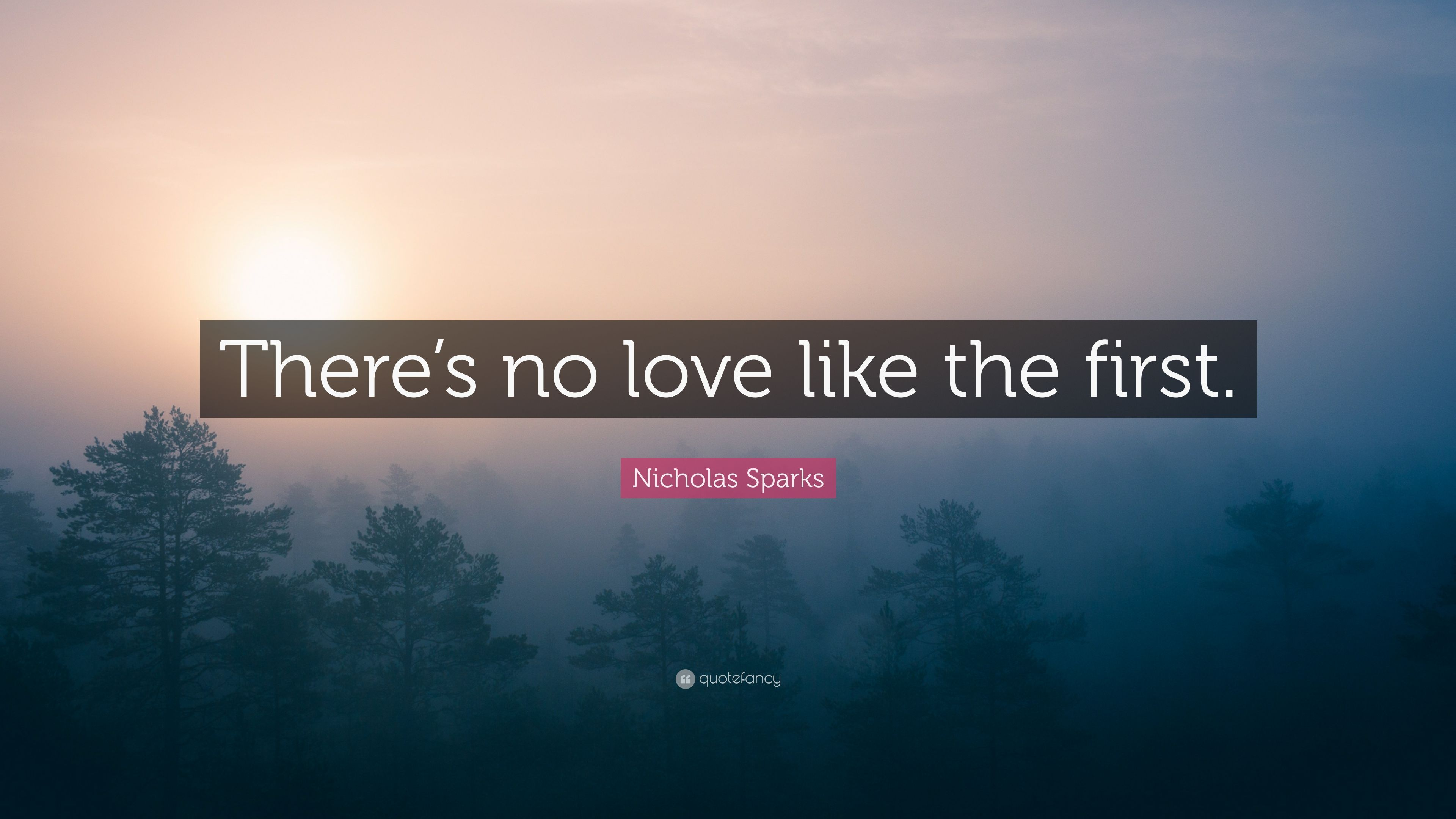 "Nicholas Sparks Quote ""There s no love like the first """