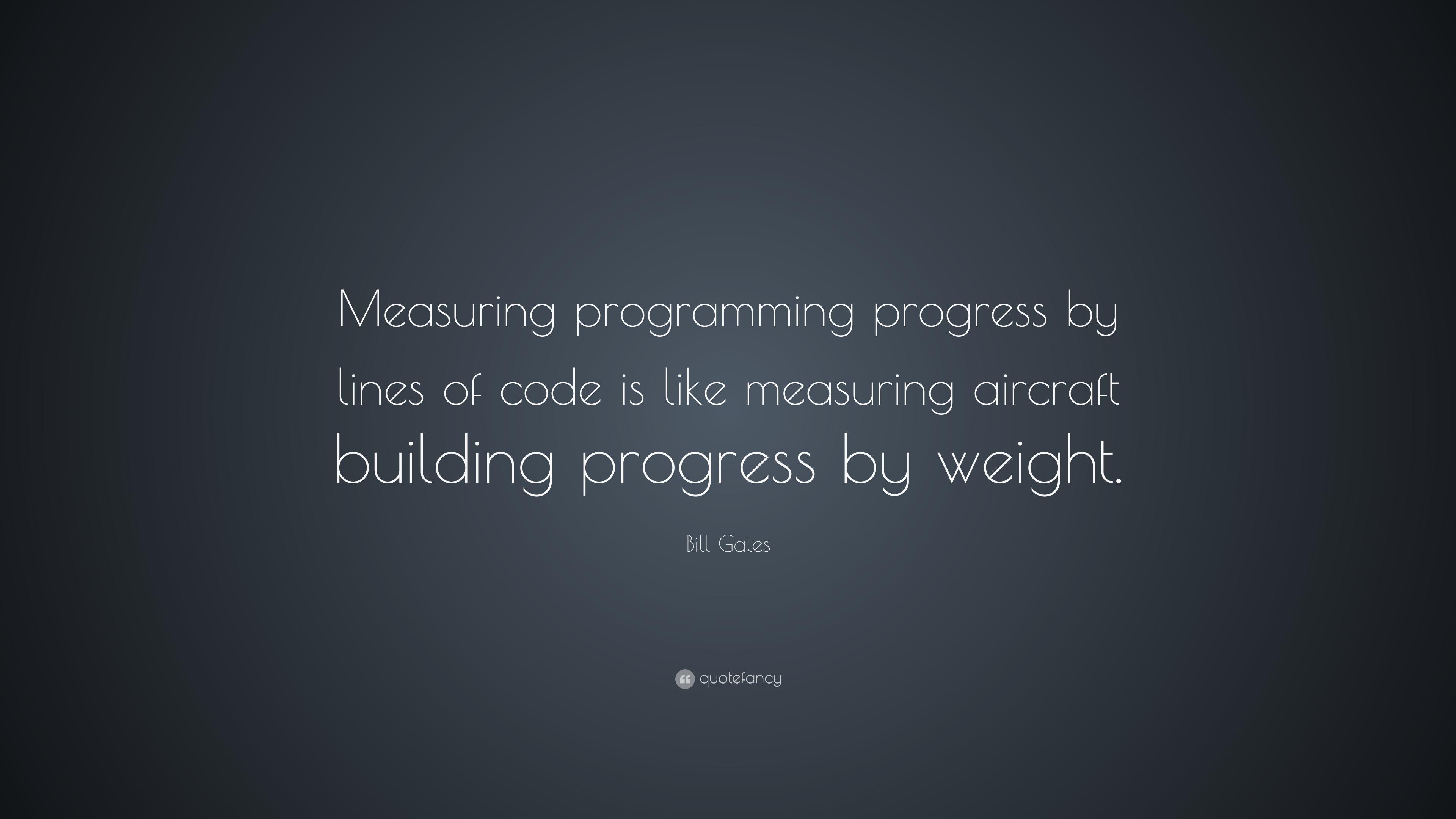 Bill Gates Measuring Programming Progress By Lines Of Code Is Like Mea...