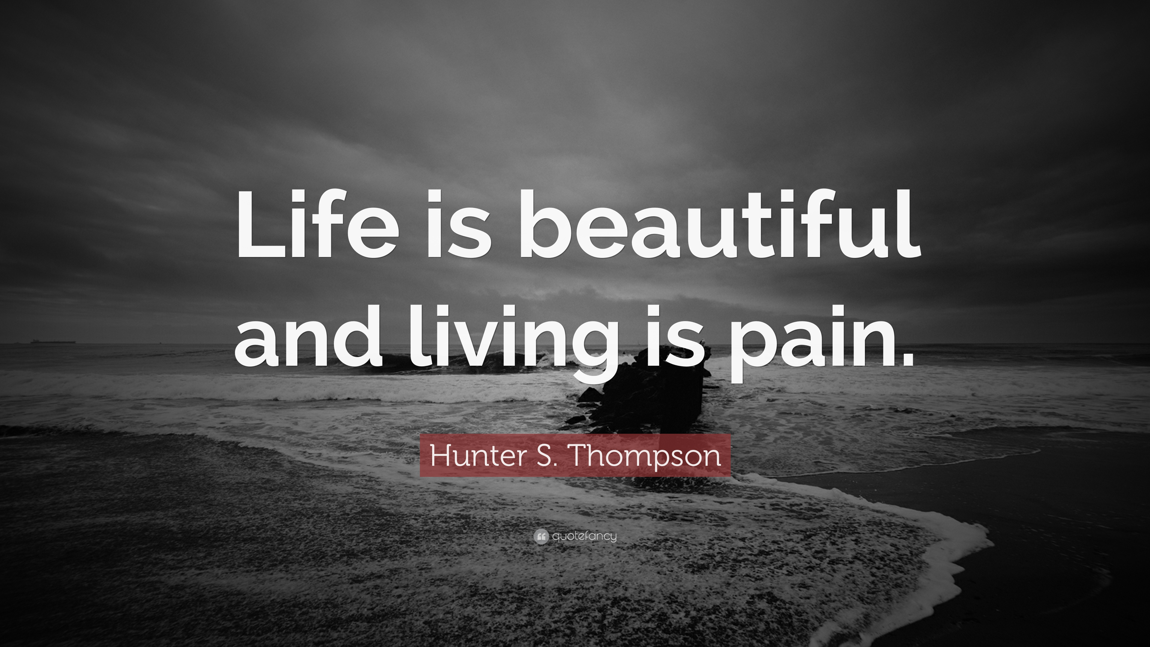 "Life Is Beautiful Quotes Hunter Sthompson Quote ""Life Is Beautiful And Living Is Pain"