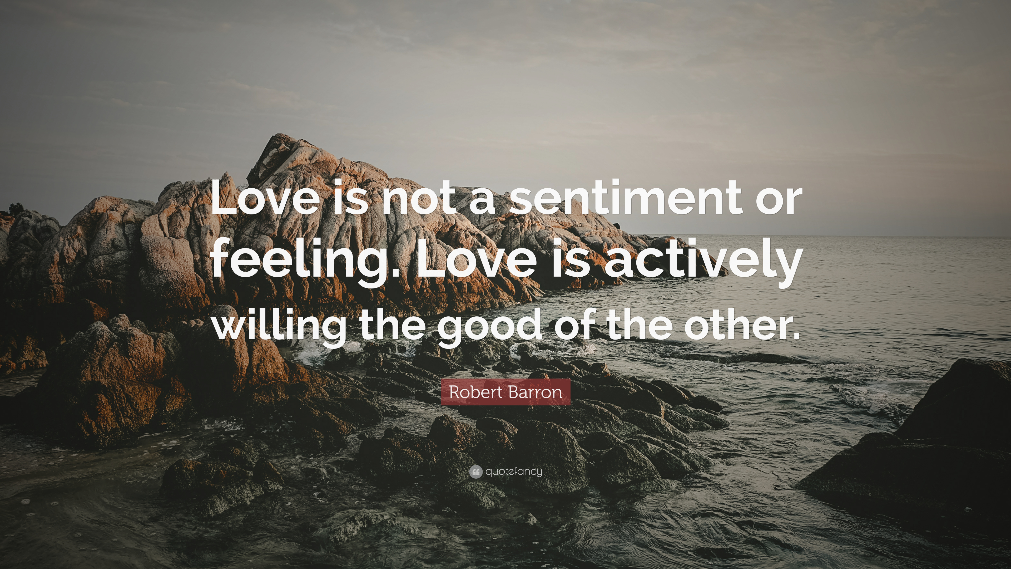 "Robert Barron Quote: ""Love is not a sentiment or feeling"