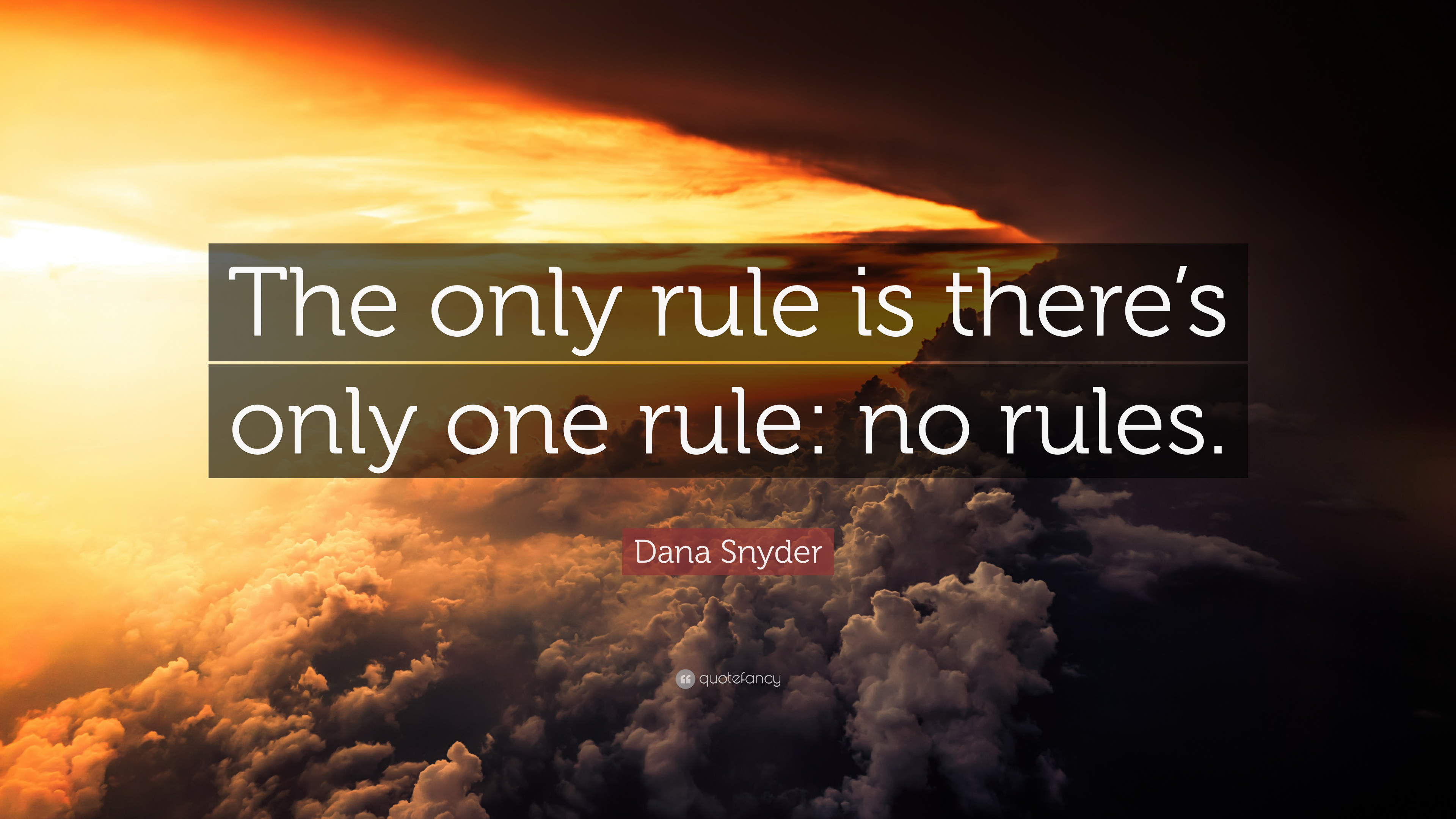 """Dana Snyder Quote """"The only rule is there's only one rule"""