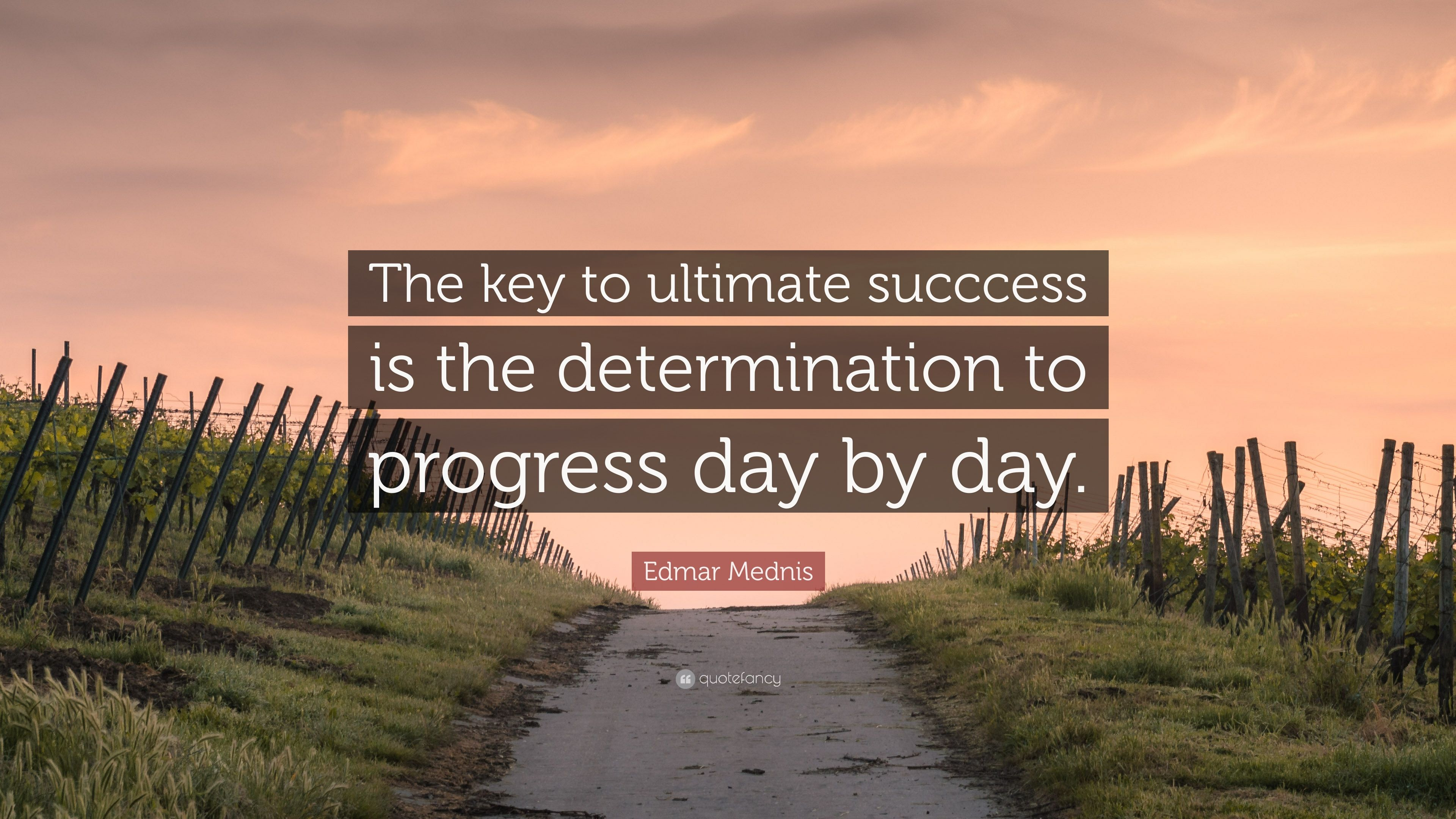 "edmar mednis quote ""the key to ultimate succcess is the"