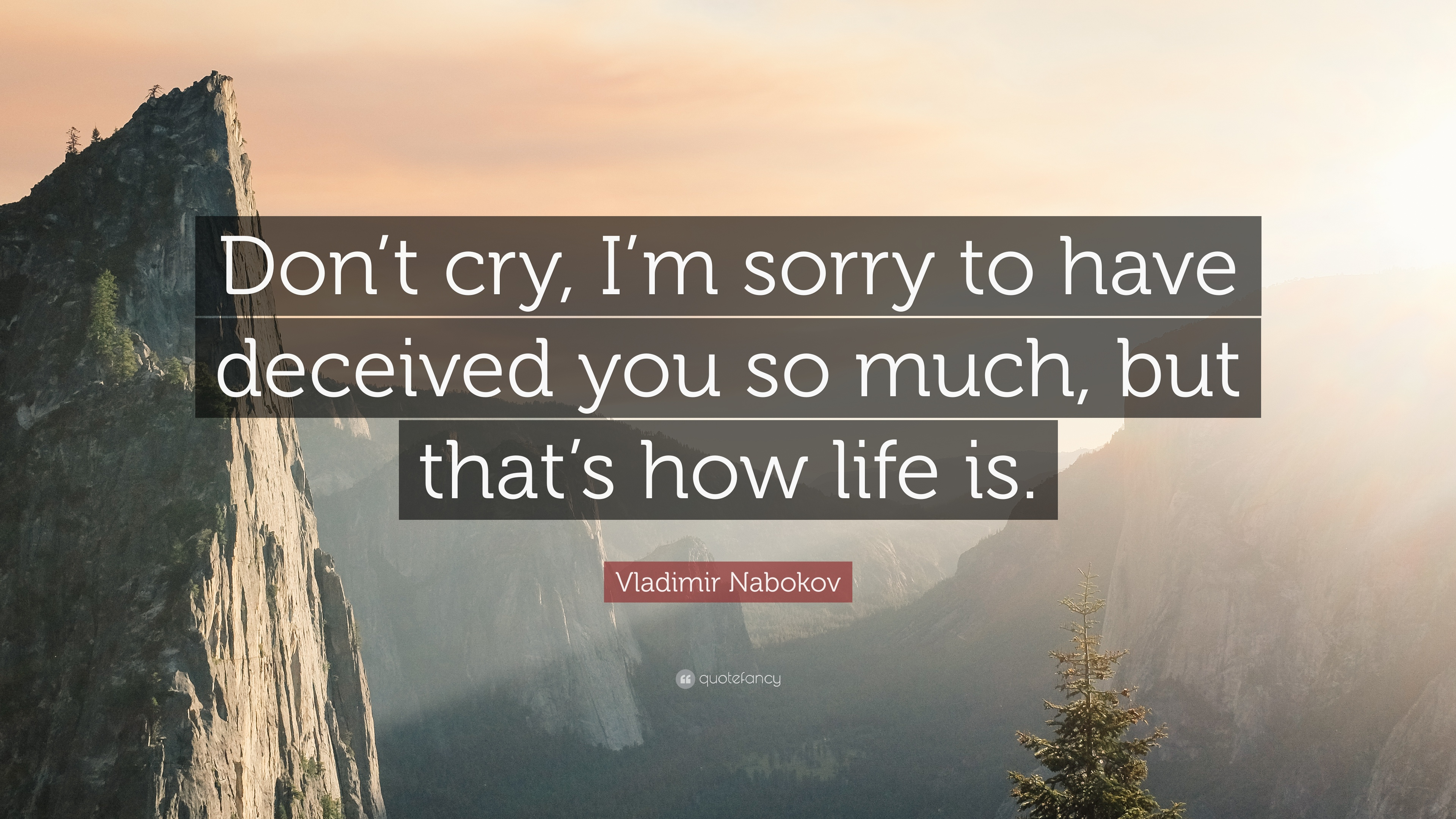 "Quotes About Rushing Life: Vladimir Nabokov Quote: ""Don't Cry, I'm Sorry To Have"
