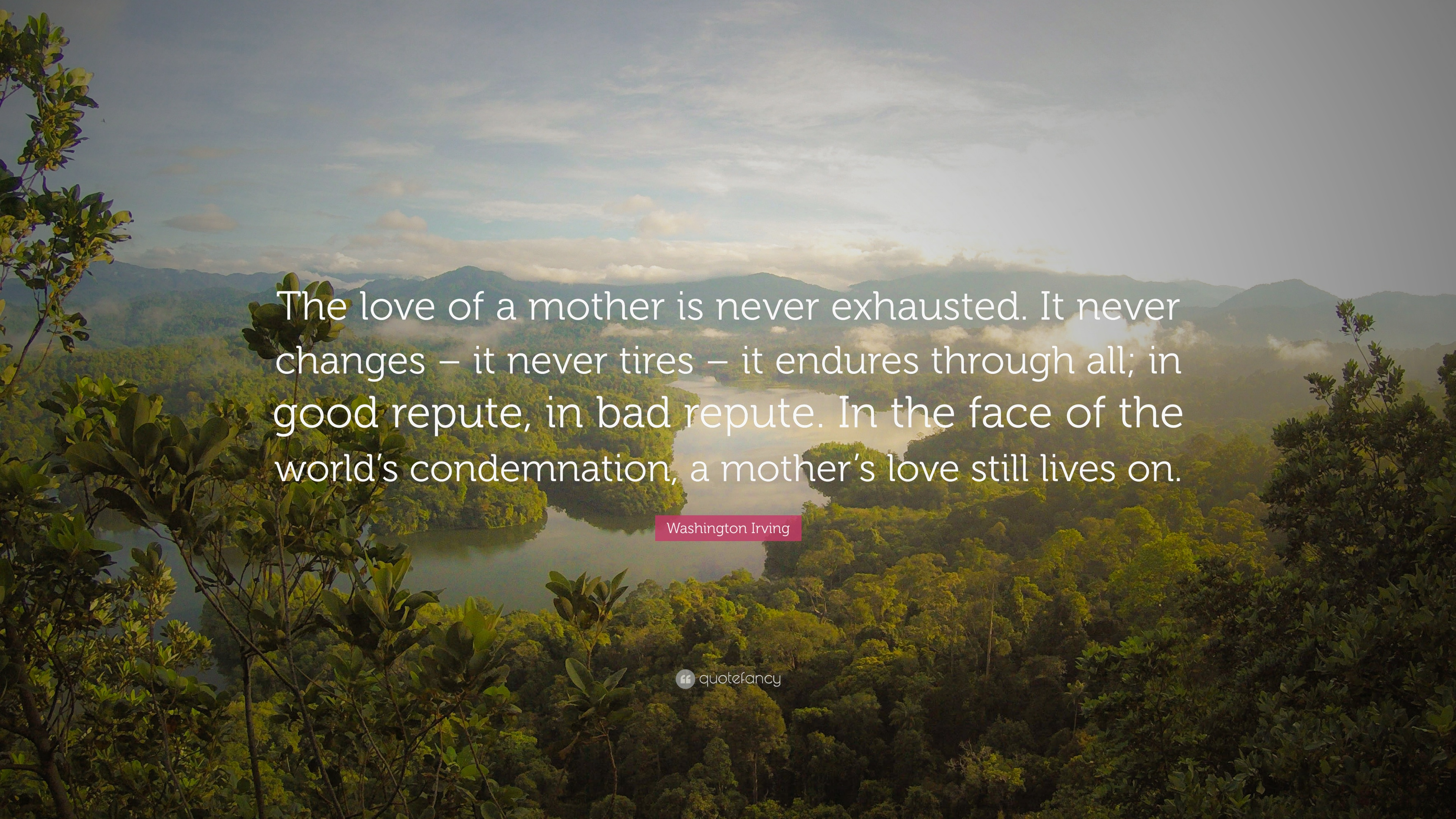 "Washington Irving Quote ""The love of a mother is never exhausted It never"