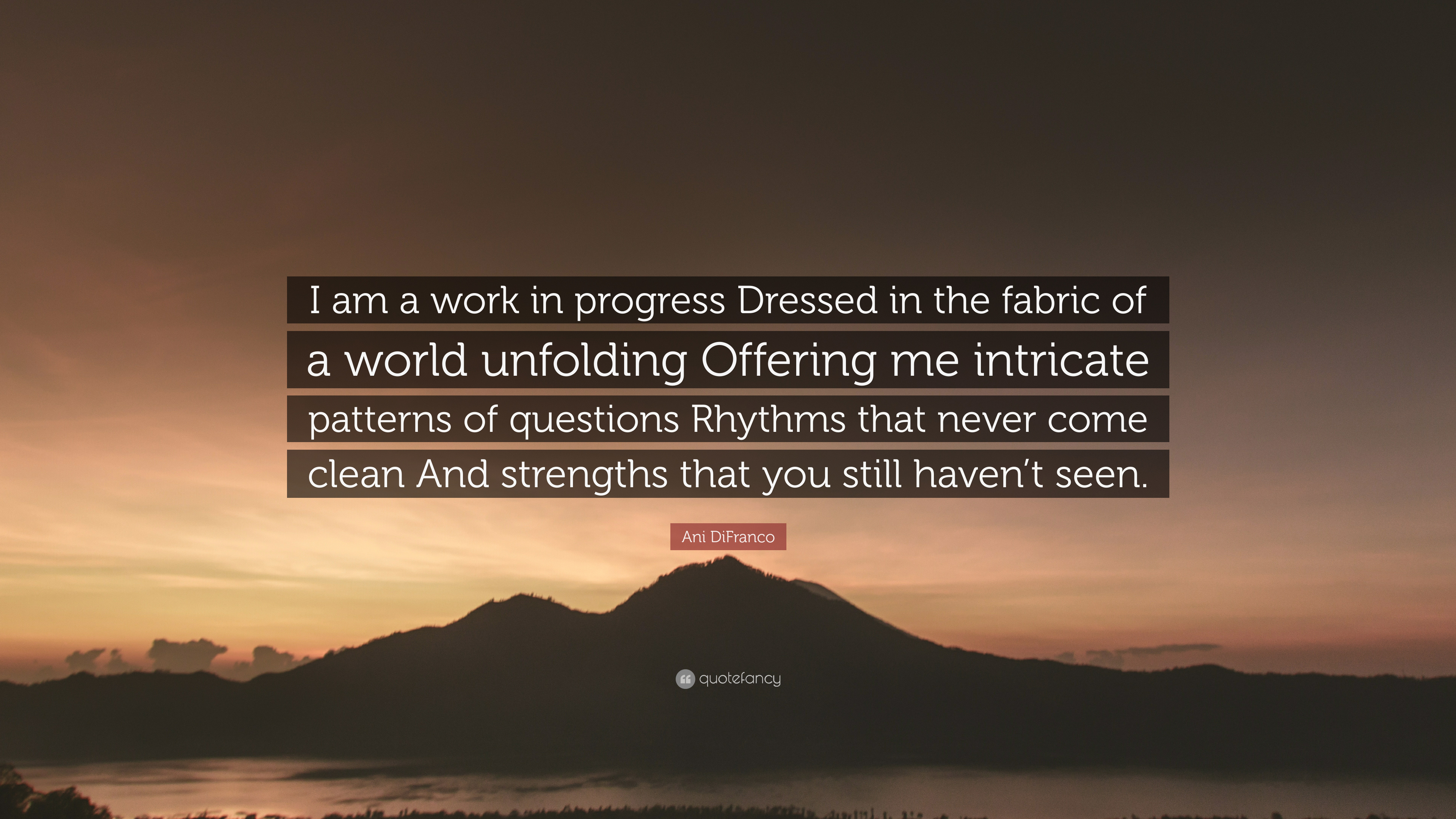 "Ani DiFranco Quote: ""I Am A Work In Progress Dressed In"