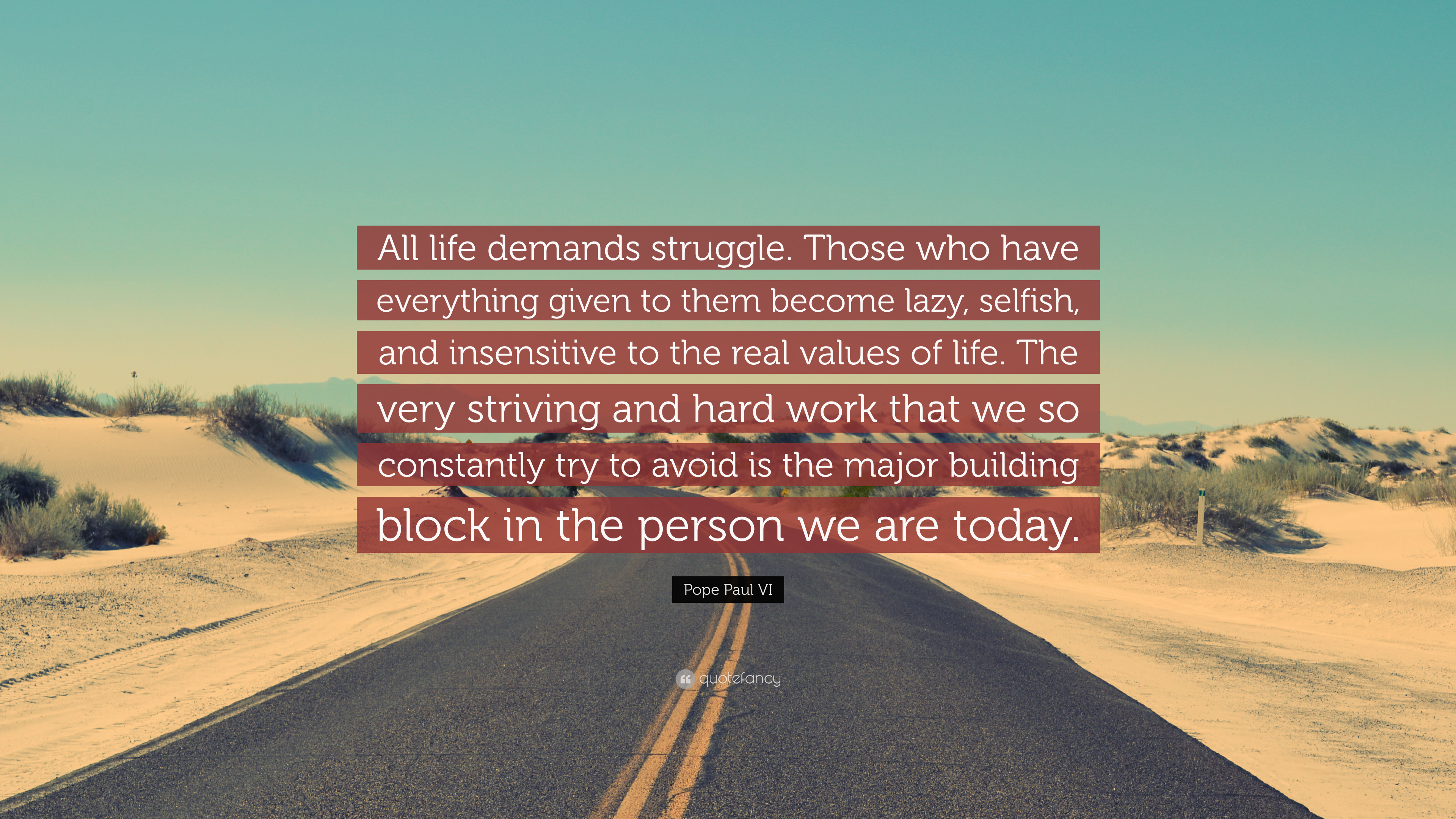 Pope Paul Vi Quote All Life Demands Struggle Those Who Have
