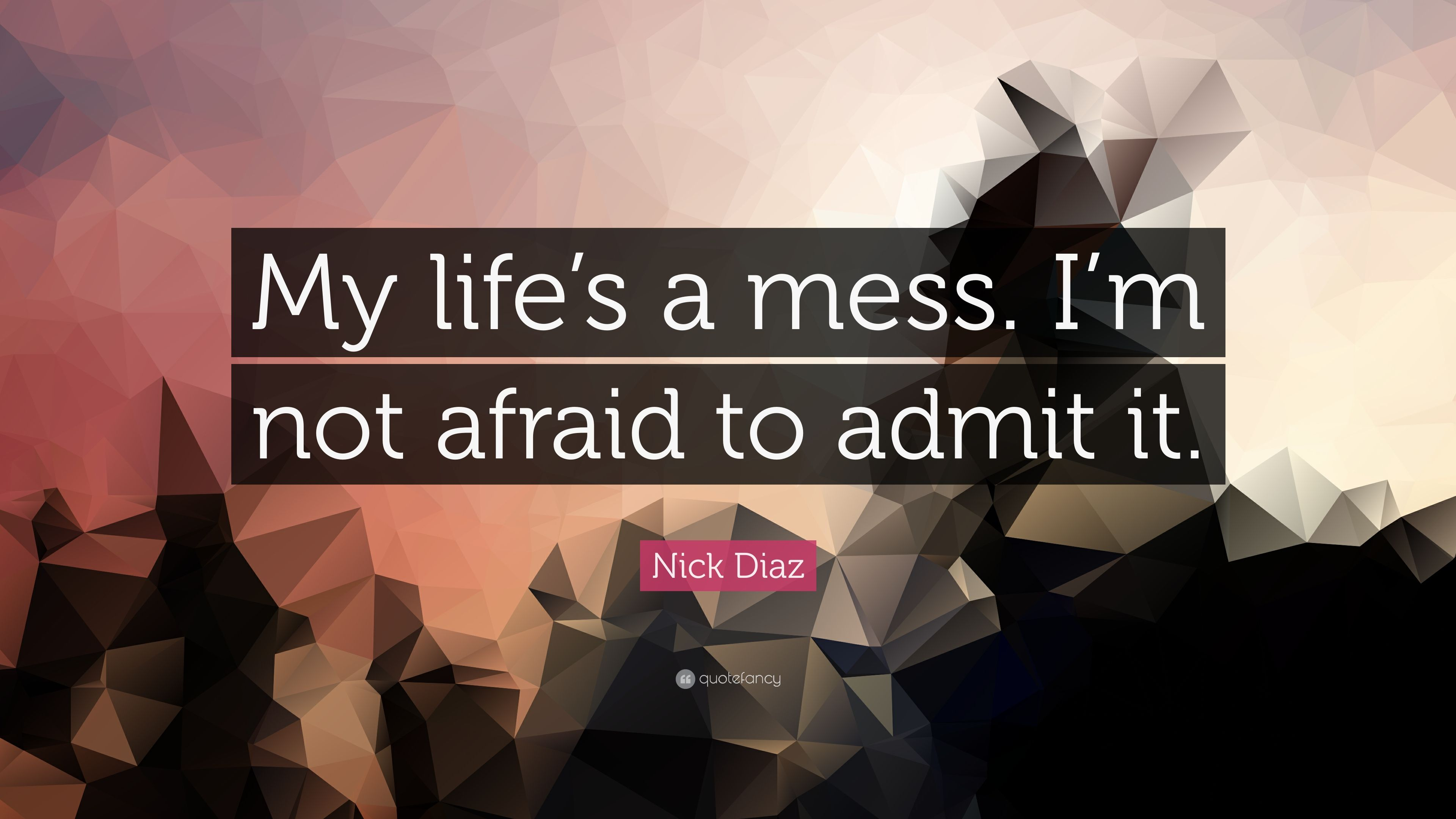 "Nick Diaz Quote: ""My Life's A Mess. I'm Not Afraid To"