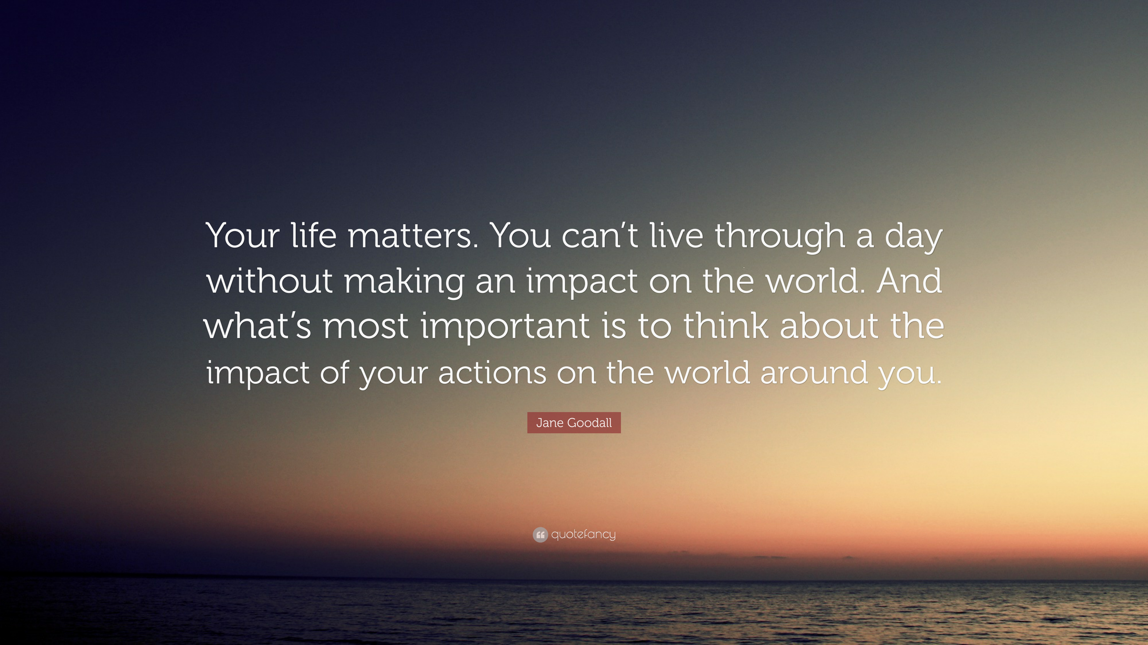 Jane Goodall Quote Your Life Matters You Cant Live Through A Day