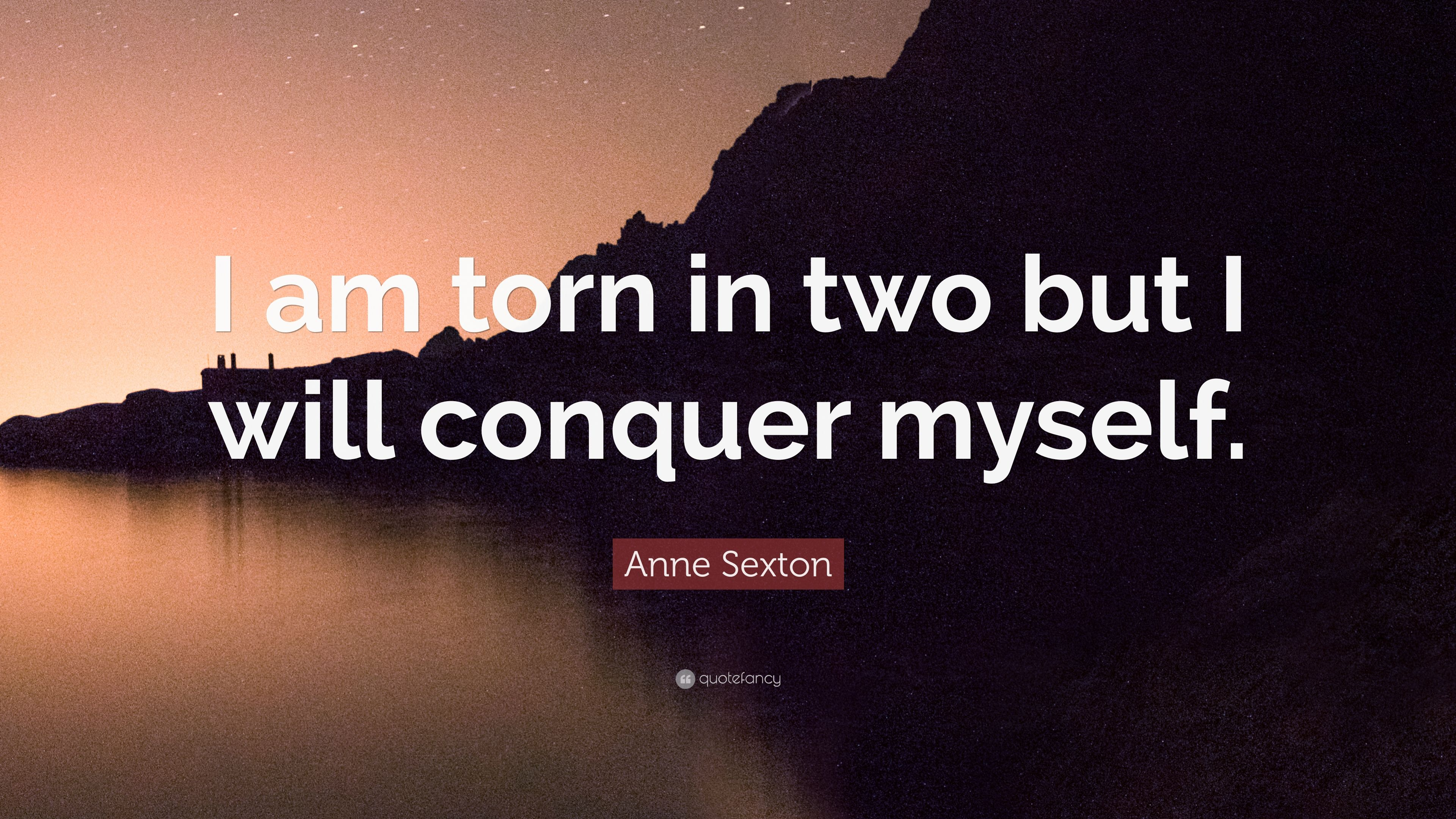 Anne Sexton Quote I Am Torn In Two But I Will Conquer Myself 6