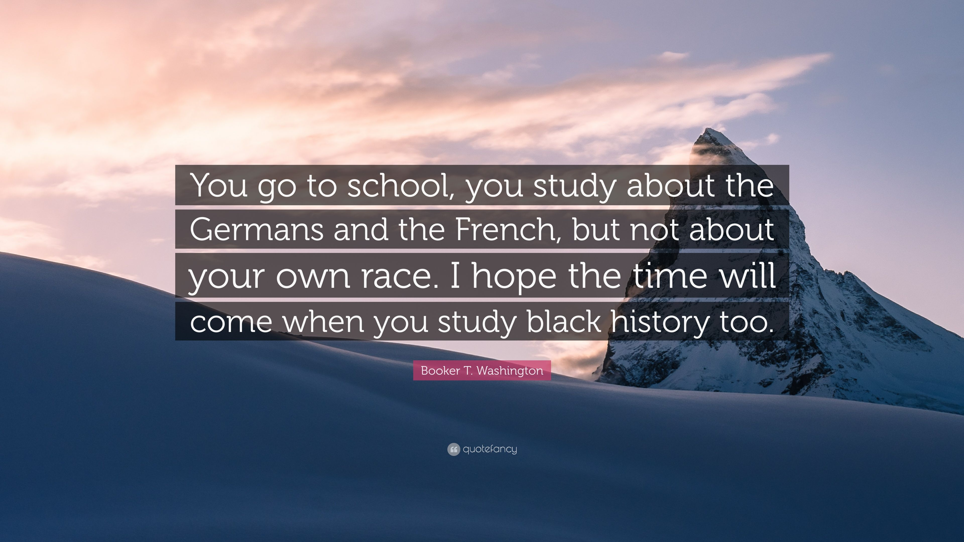 "Booker T  Washington Quote: ""You go to school, you study"