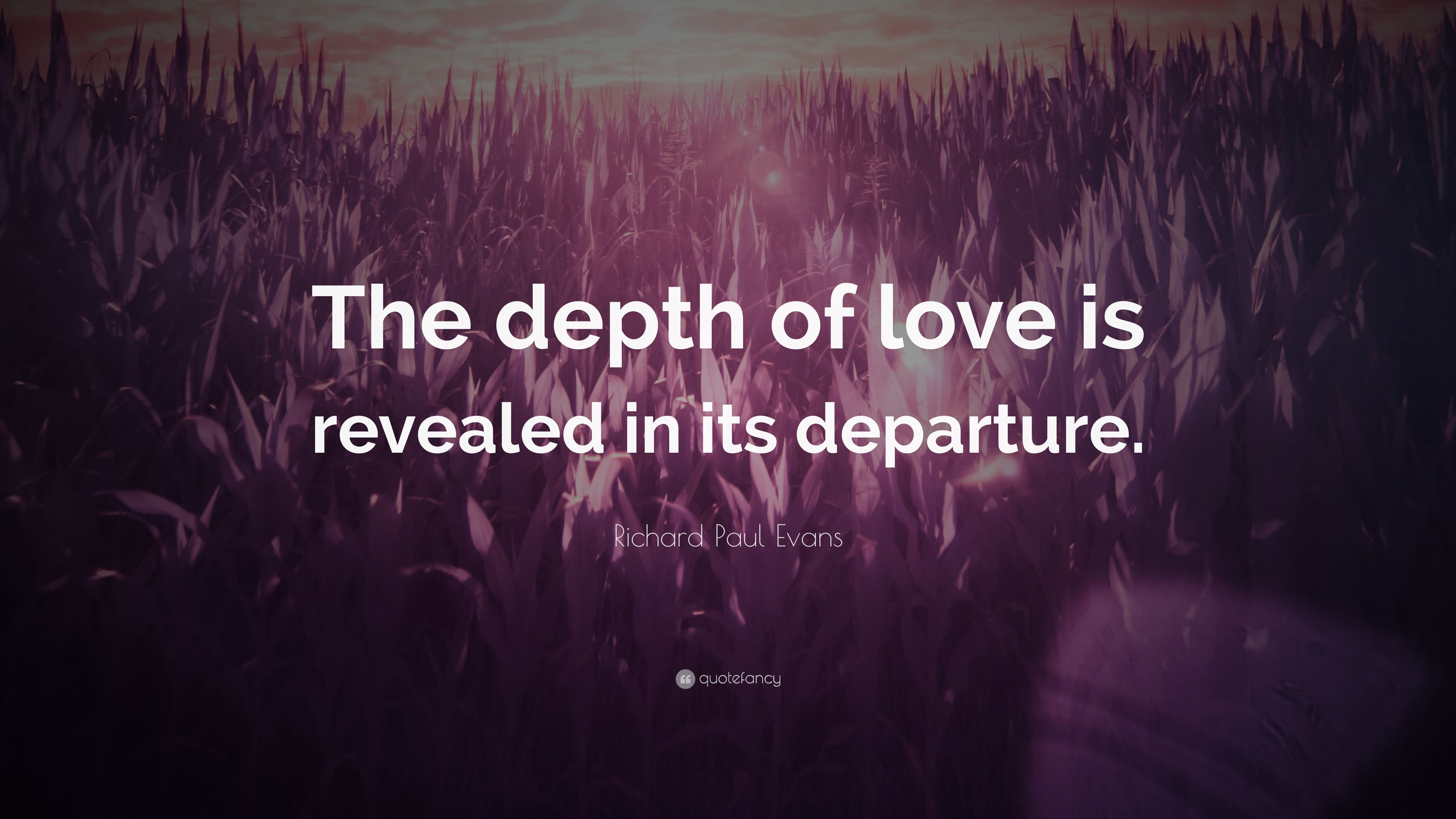 Richard Paul Evans Quote The Depth Of Love Is Revealed In Its Departure 7 Wallpapers Quotefancy